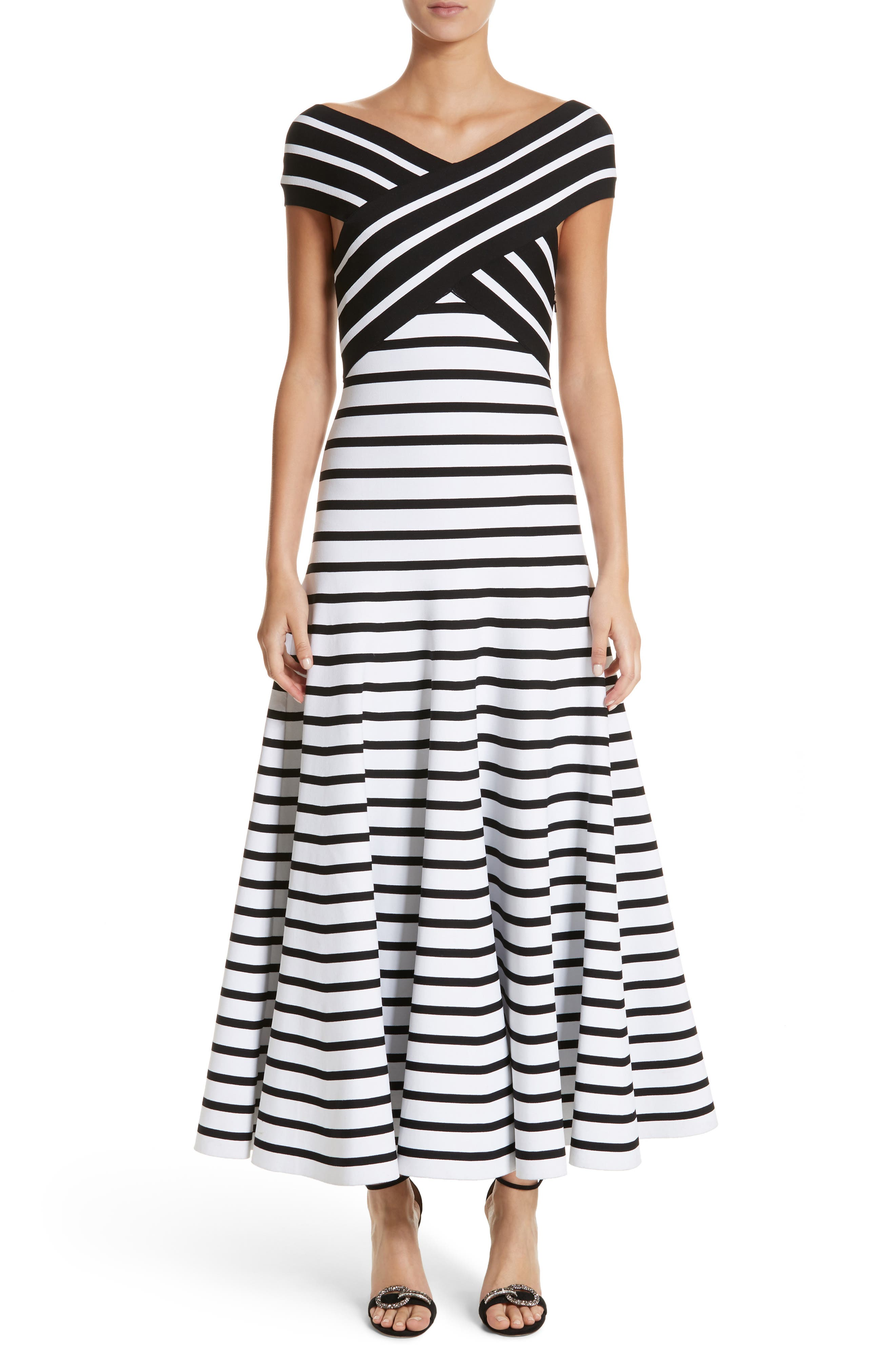 Stripe Off the Shoulder Maxi Dress,                             Main thumbnail 1, color,