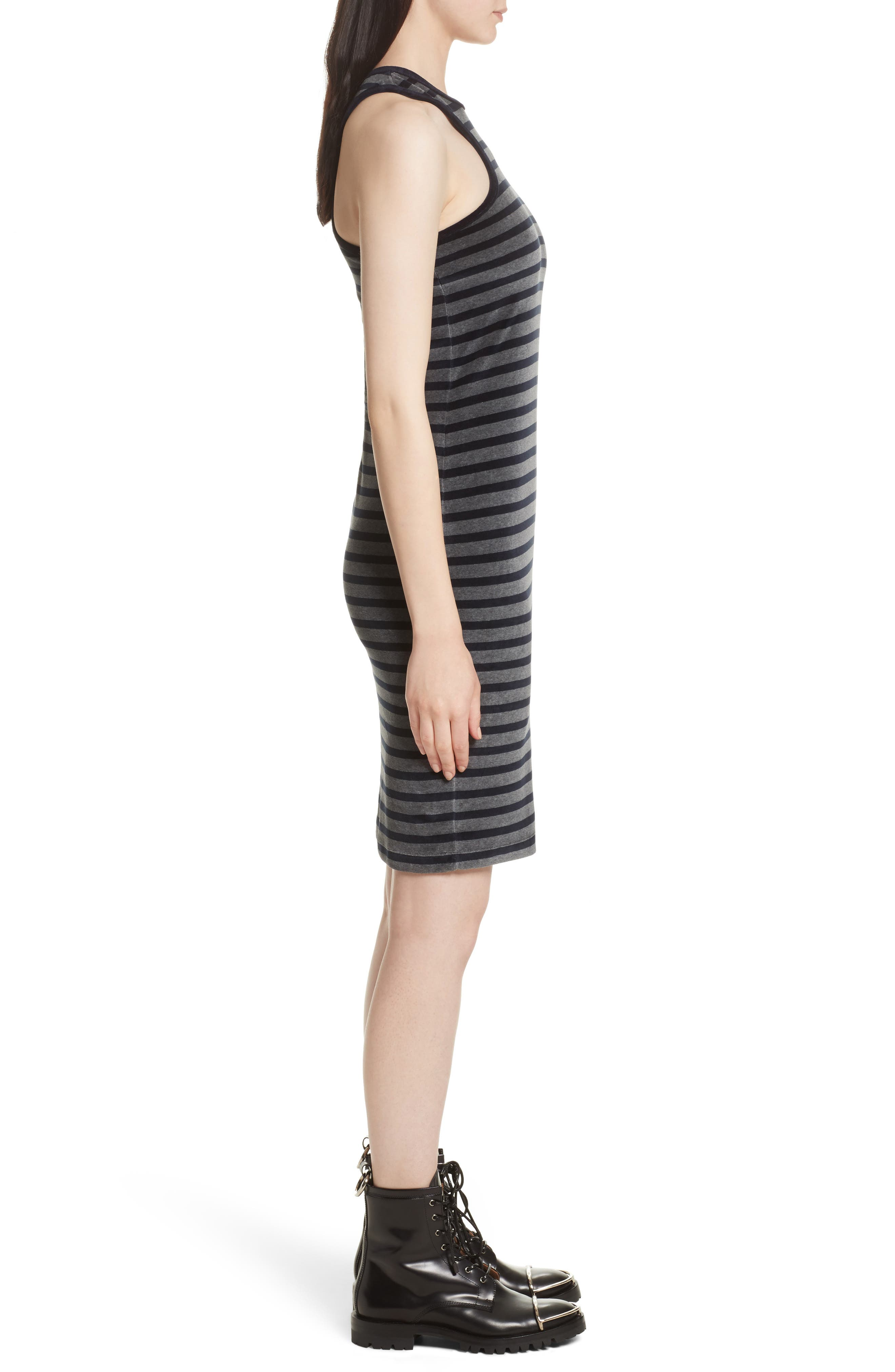 Stripe Velour Racerback Dress,                             Alternate thumbnail 3, color,                             097