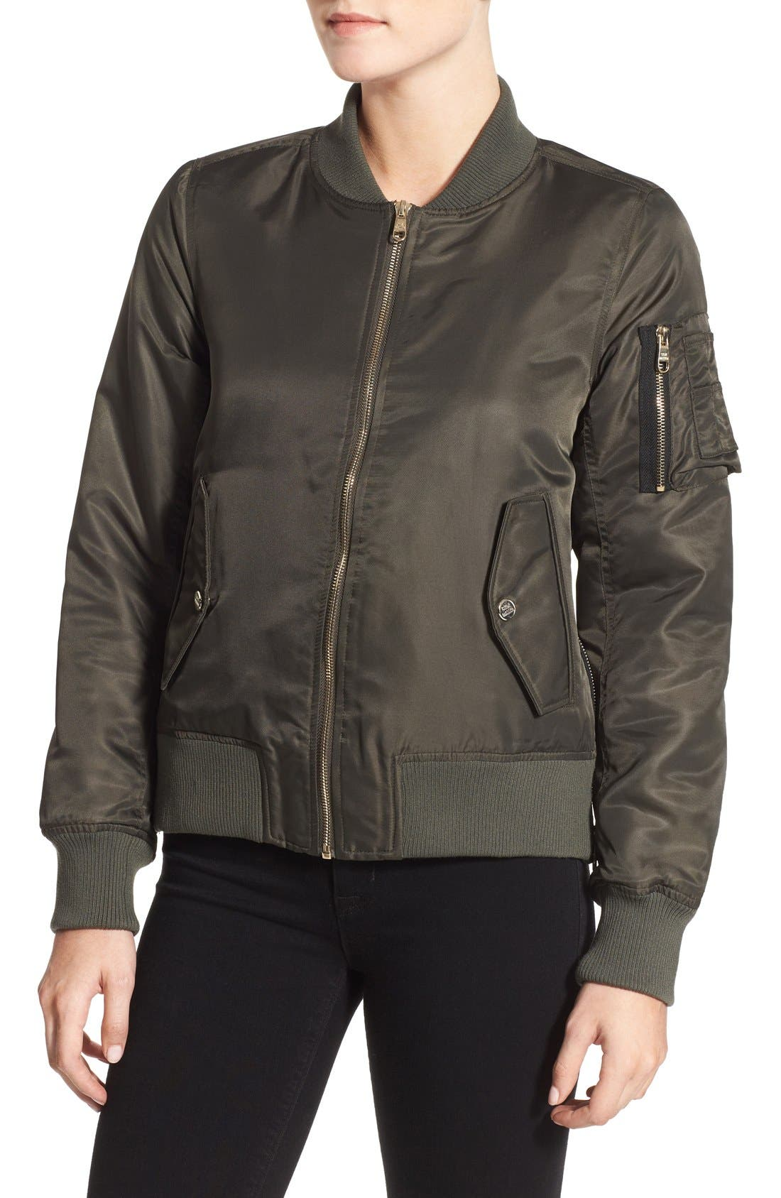 Side Zip Bomber Jacket,                             Alternate thumbnail 34, color,