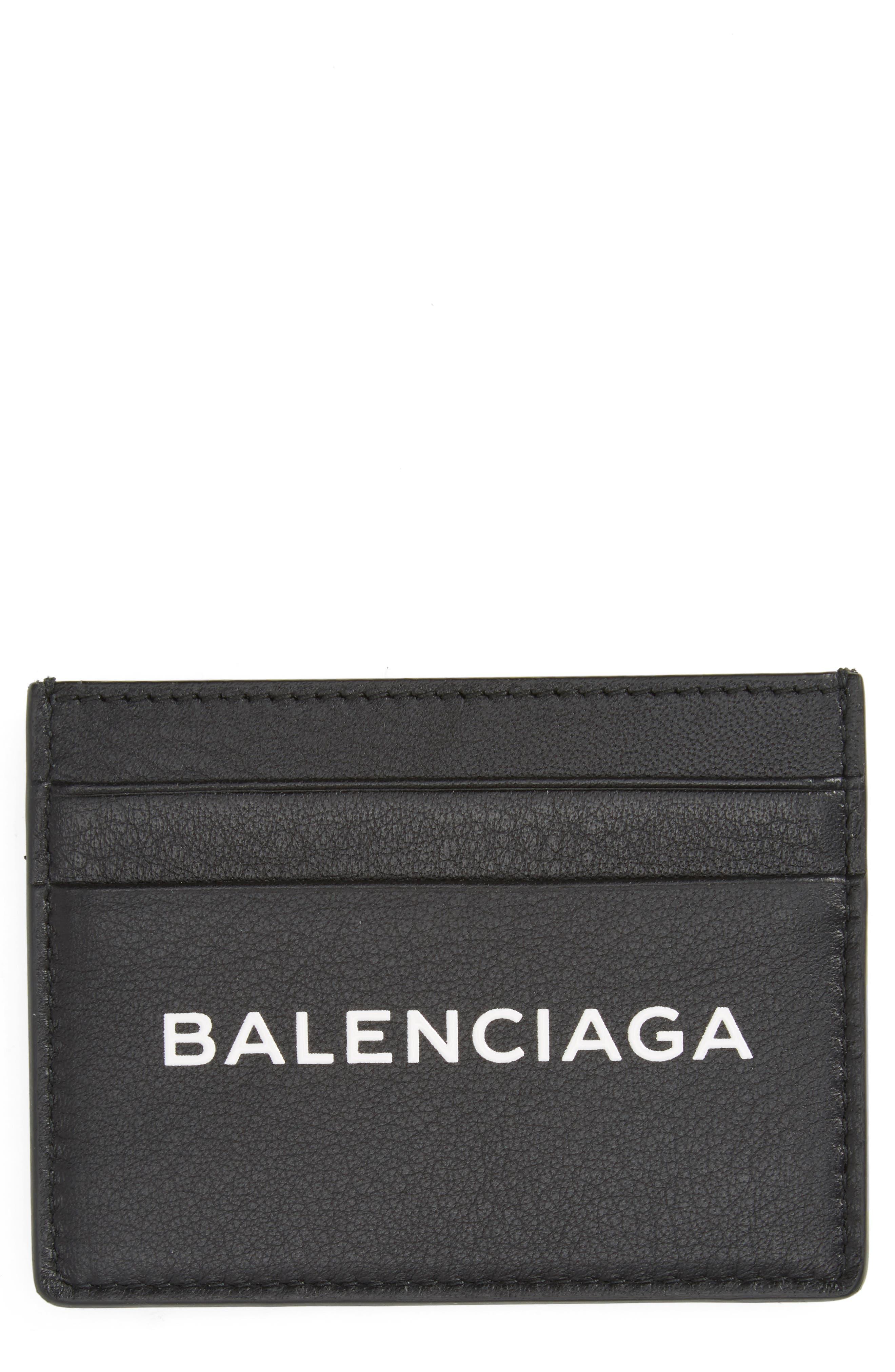 Logo Leather Card Case,                         Main,                         color, NOIR/ BLANC