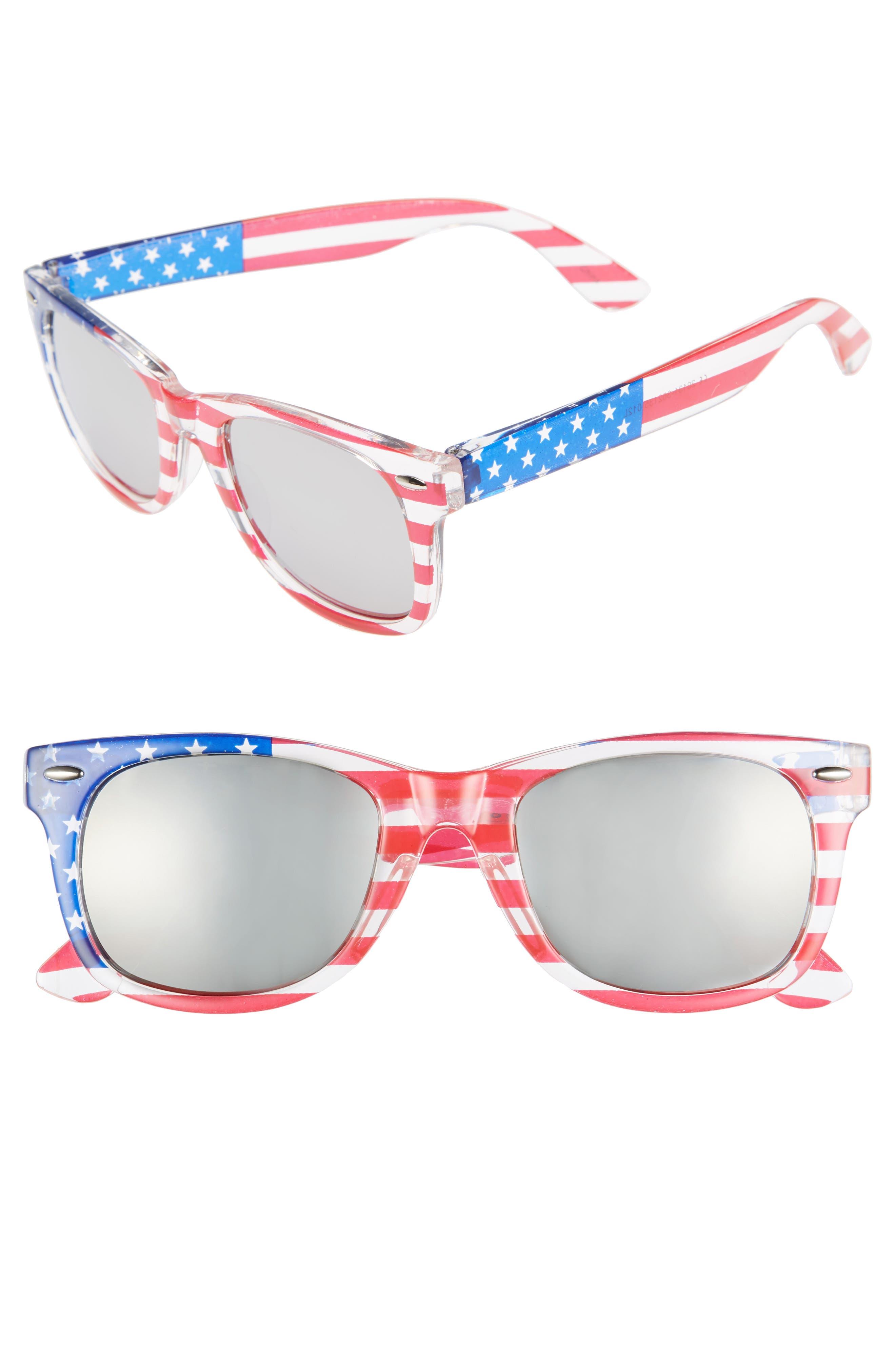 Americana 63mm Stars & Stripes Sunglasses, Main, color, 400