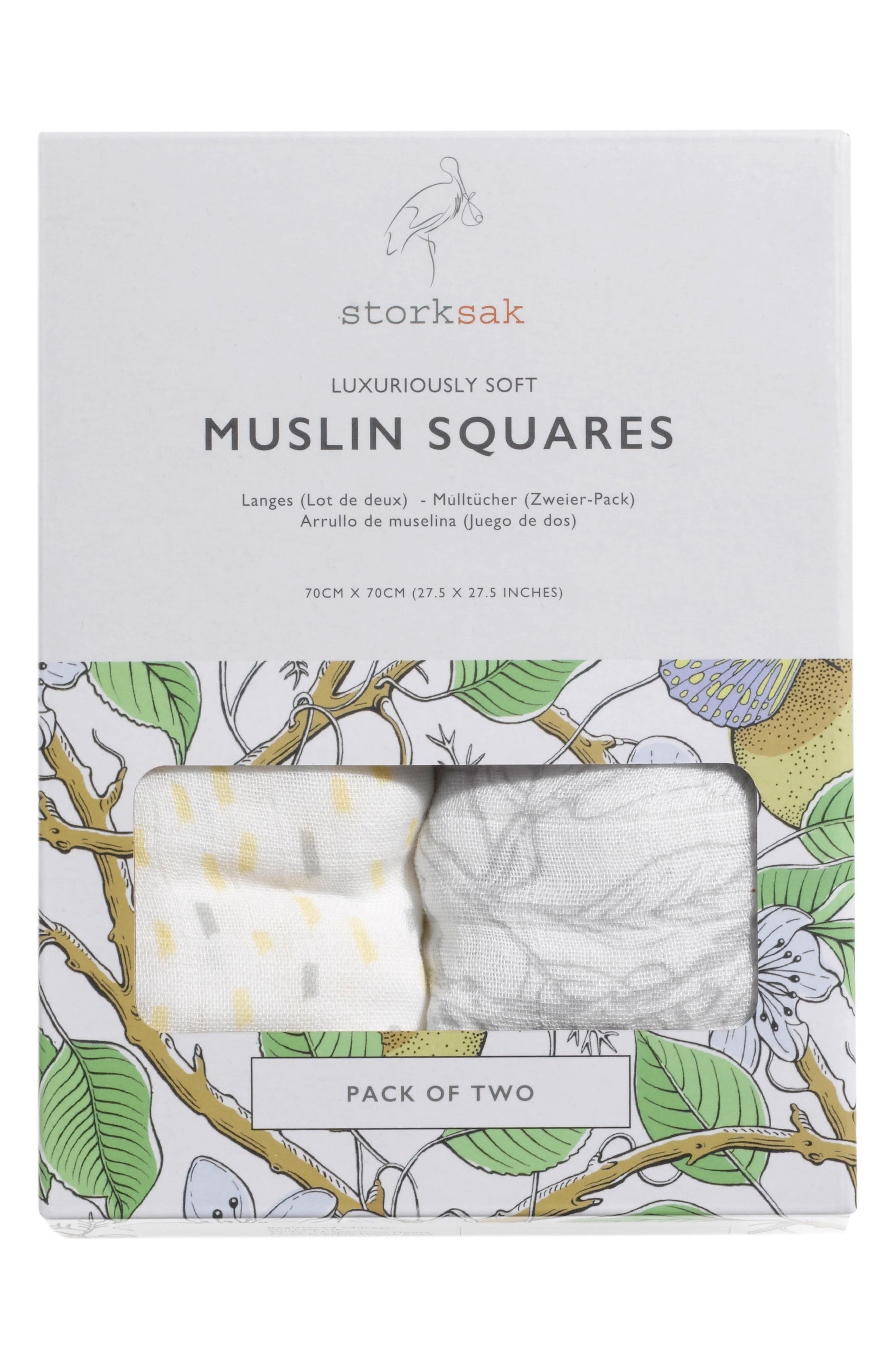 2-Pack Muslin Cloths,                         Main,                         color, MULTI