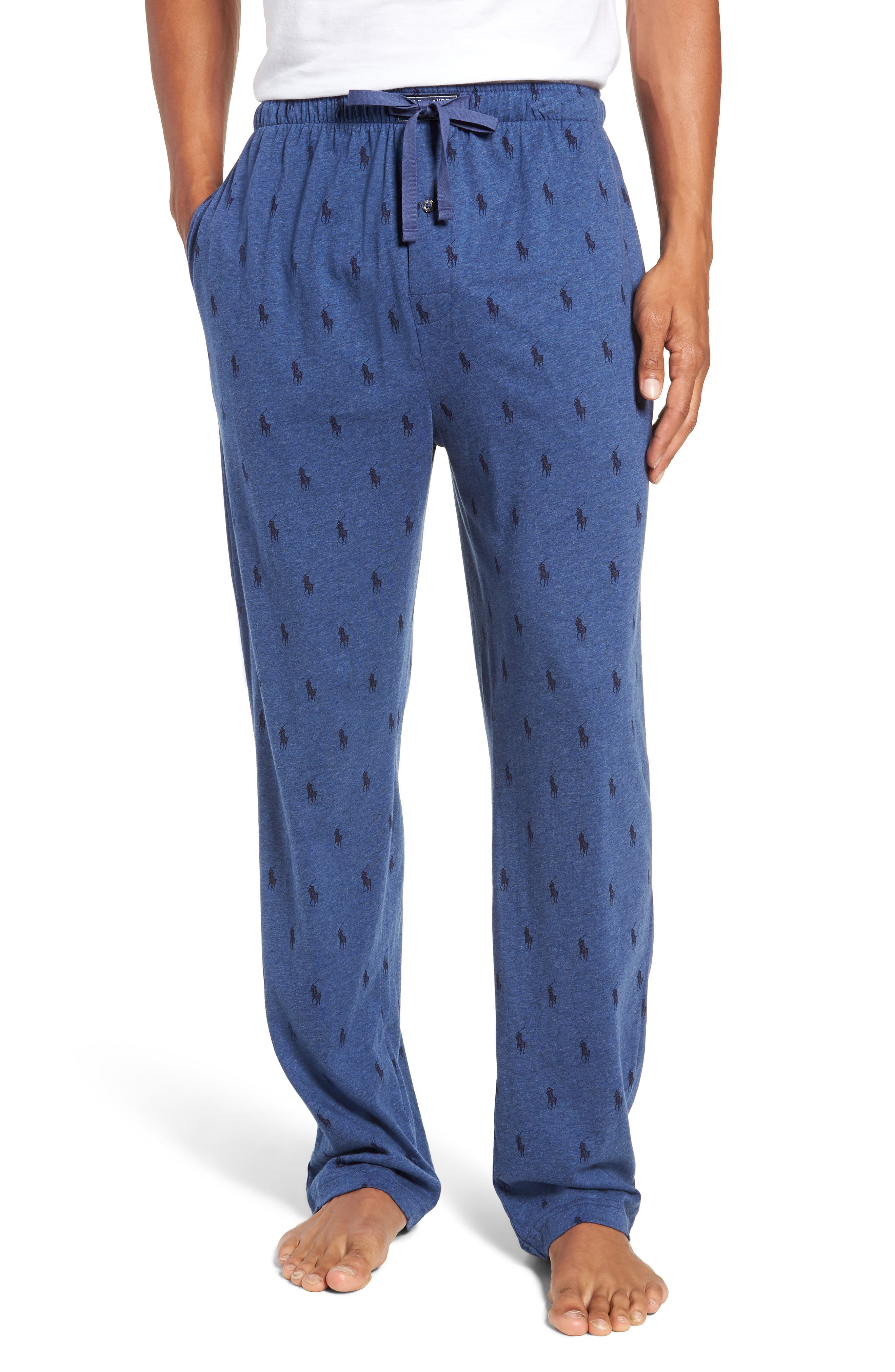 All Over Pony Lounge Pants,                         Main,                         color, BLUE HEATHER/ CRUISE NAVY