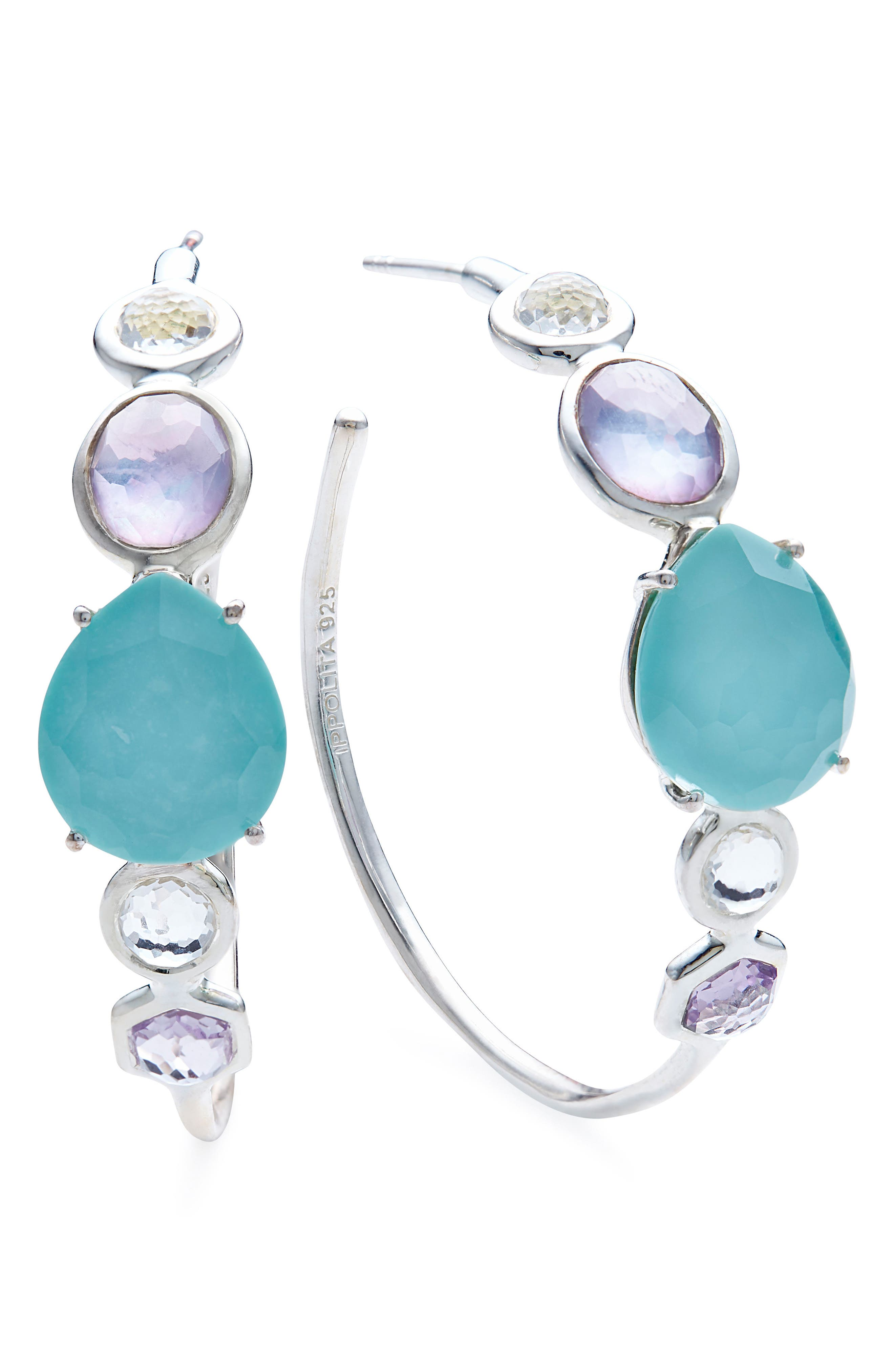 Rock Candy Mixed Stone Bezel Hoop Earrings,                         Main,                         color, LIOLET