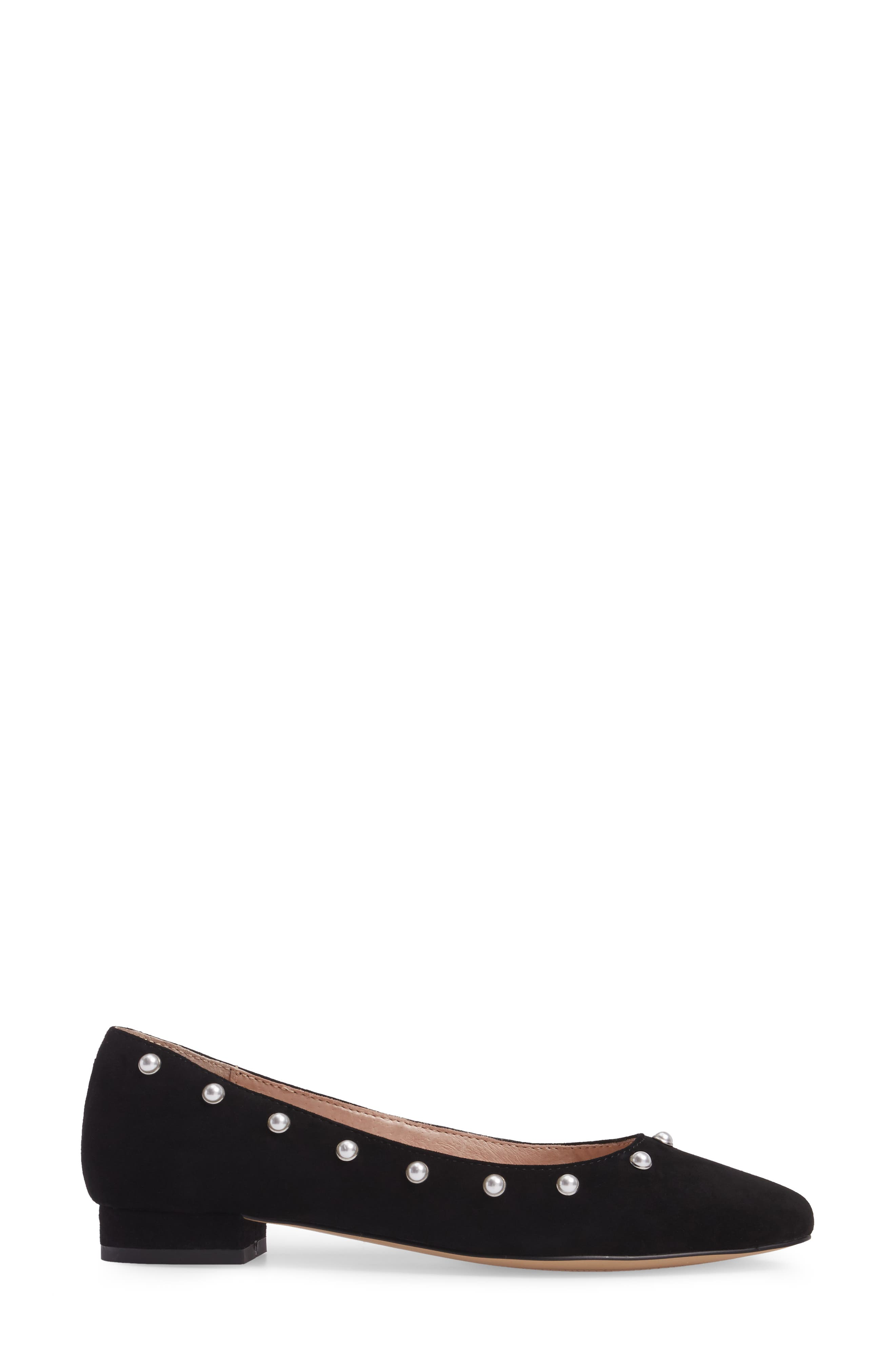 Amira Imitation Pearl Flat,                             Alternate thumbnail 3, color,                             BLACK SUEDE