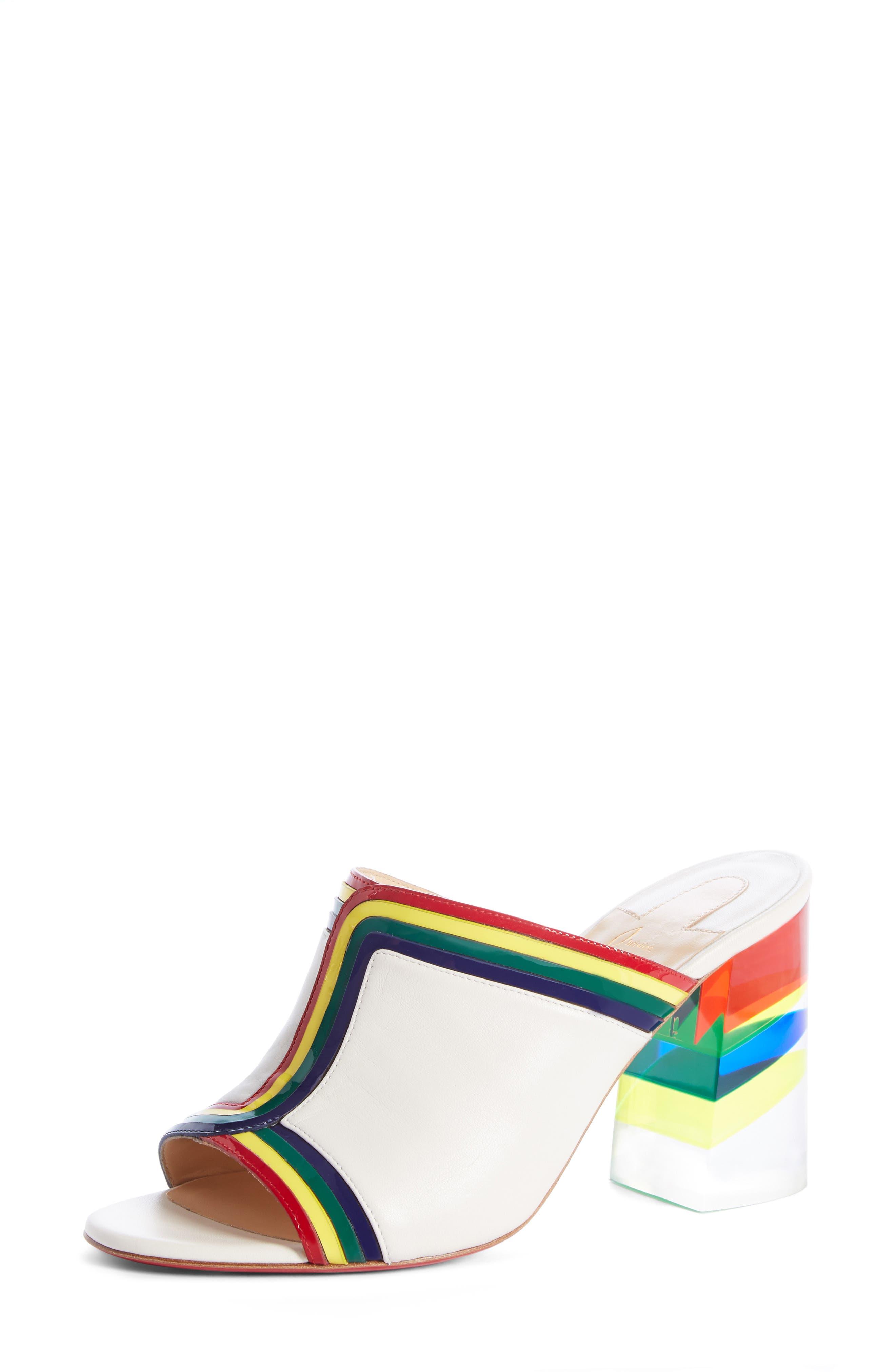 Ranimule Transparent Heel Mule, Main, color, SNOW/ MULTI