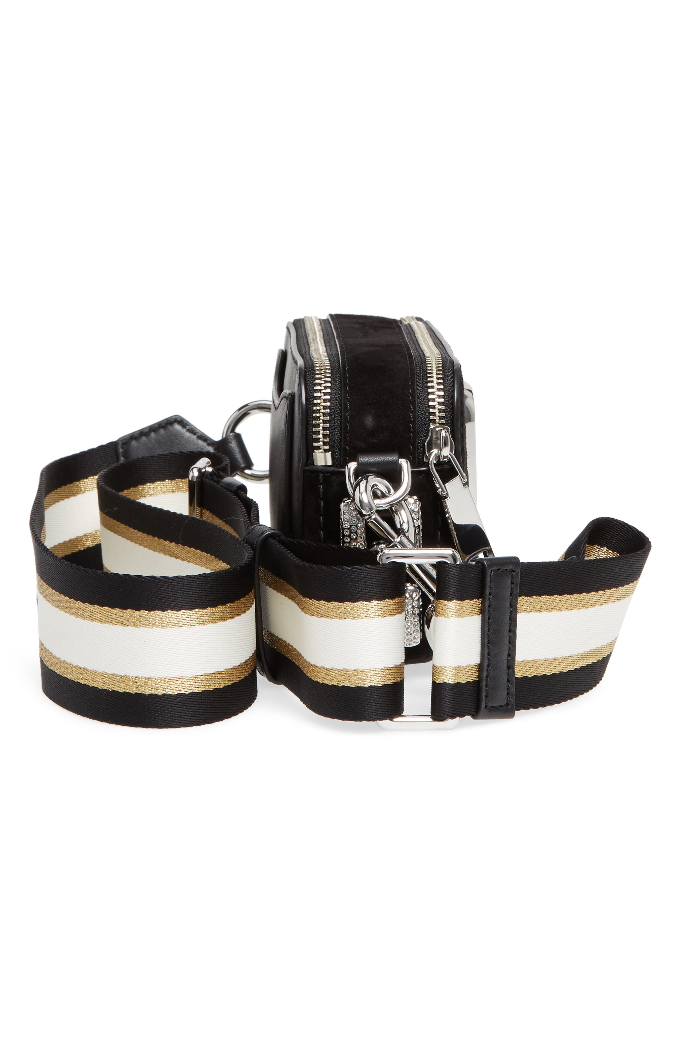 Snapshot Leather Pavé Chain Trim Crossbody Bag,                             Alternate thumbnail 5, color,                             001