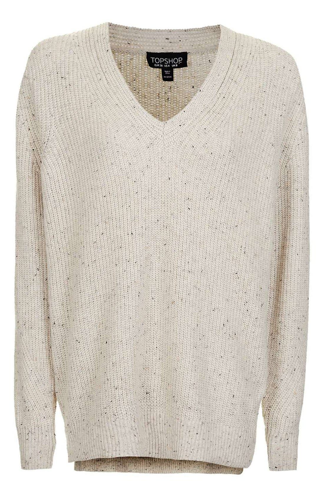 Ribbed V-Neck Sweater,                             Alternate thumbnail 7, color,                             101