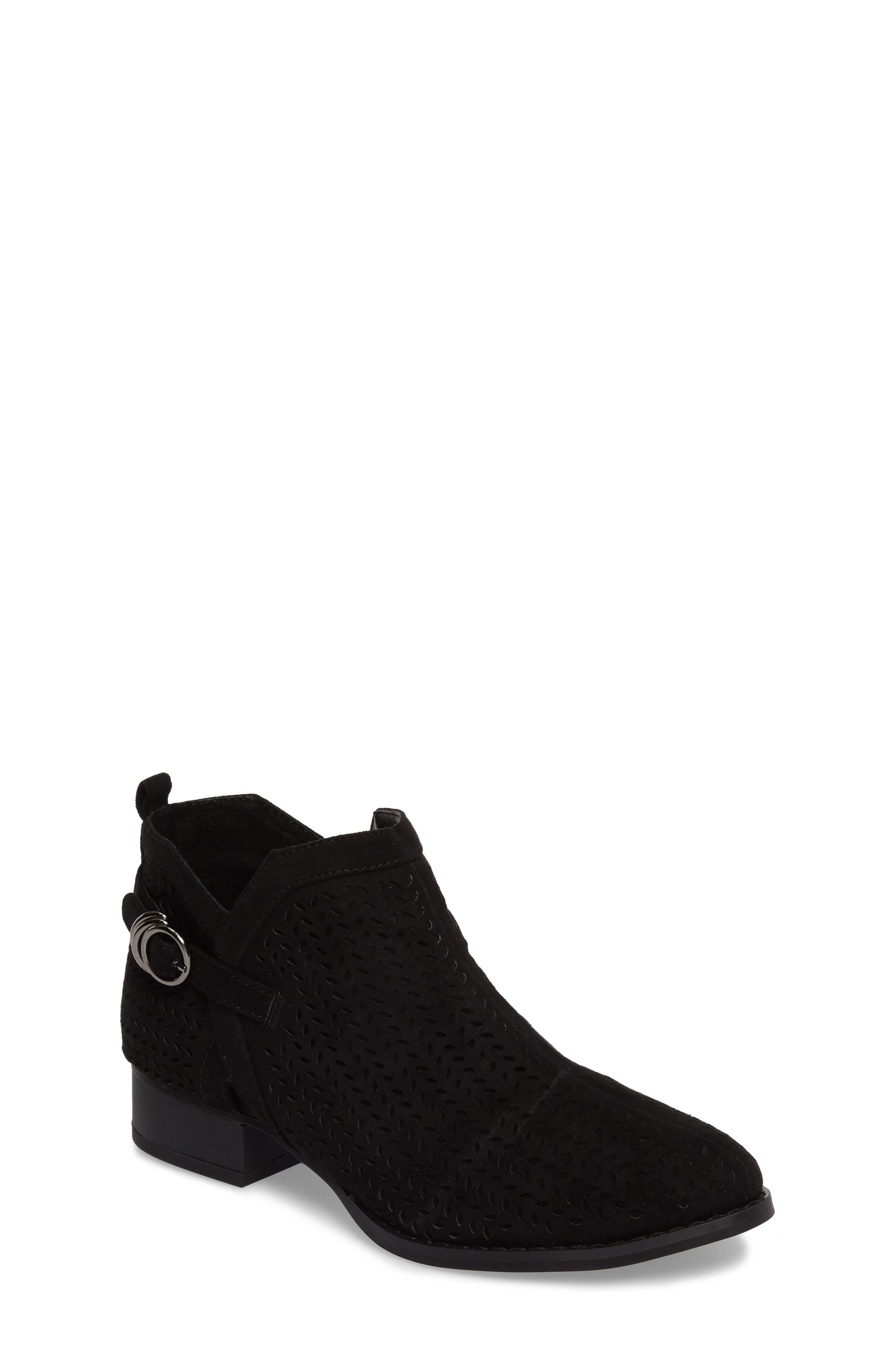 Campina Perforated Bootie,                             Main thumbnail 1, color,                             BLACK SUEDE