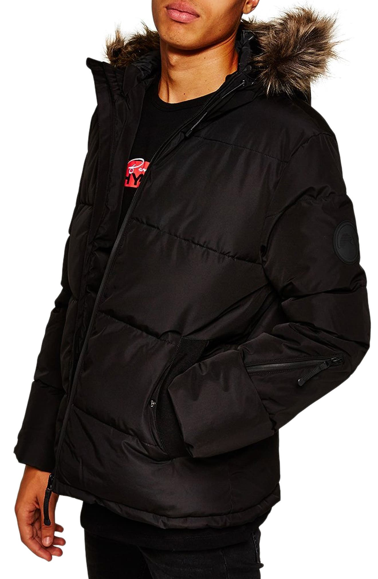 Marling Faux Fur Collar Puffer Jacket,                             Alternate thumbnail 3, color,                             BLACK