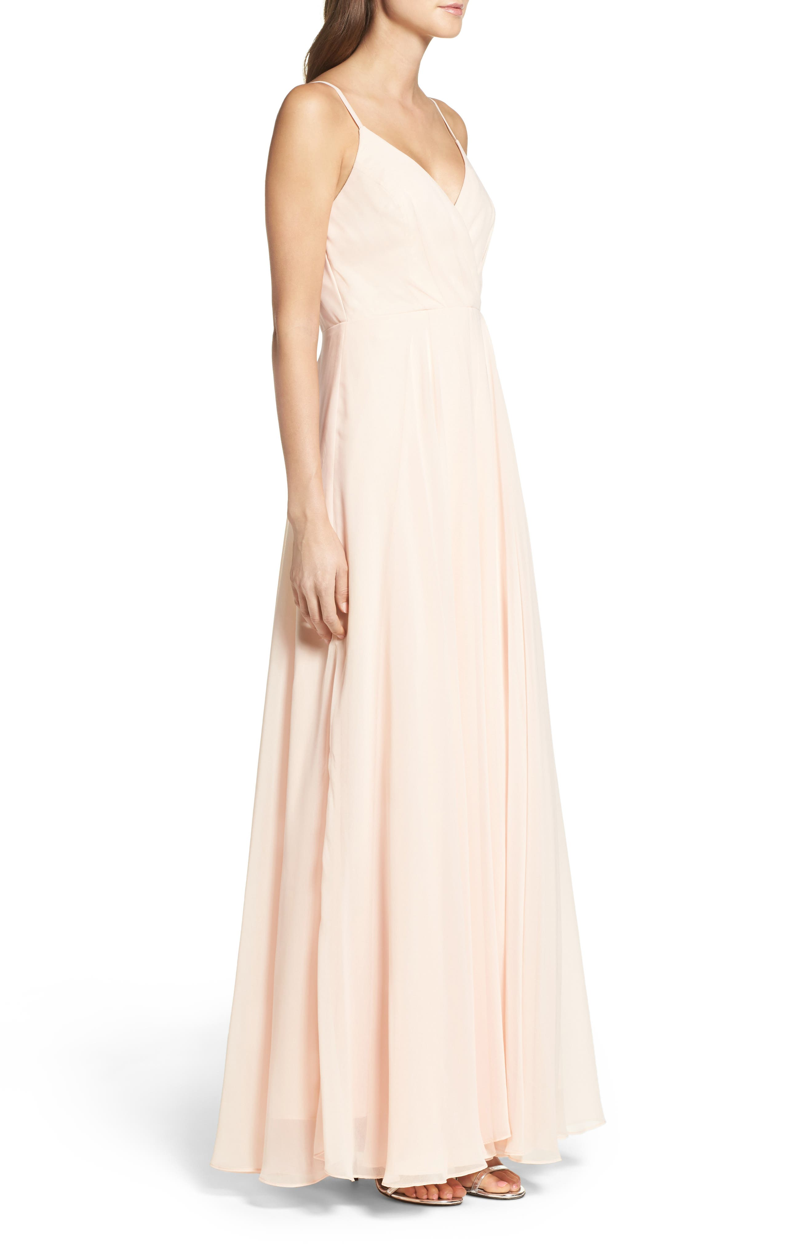 Surplice Chiffon Gown,                             Alternate thumbnail 3, color,                             BLUSH