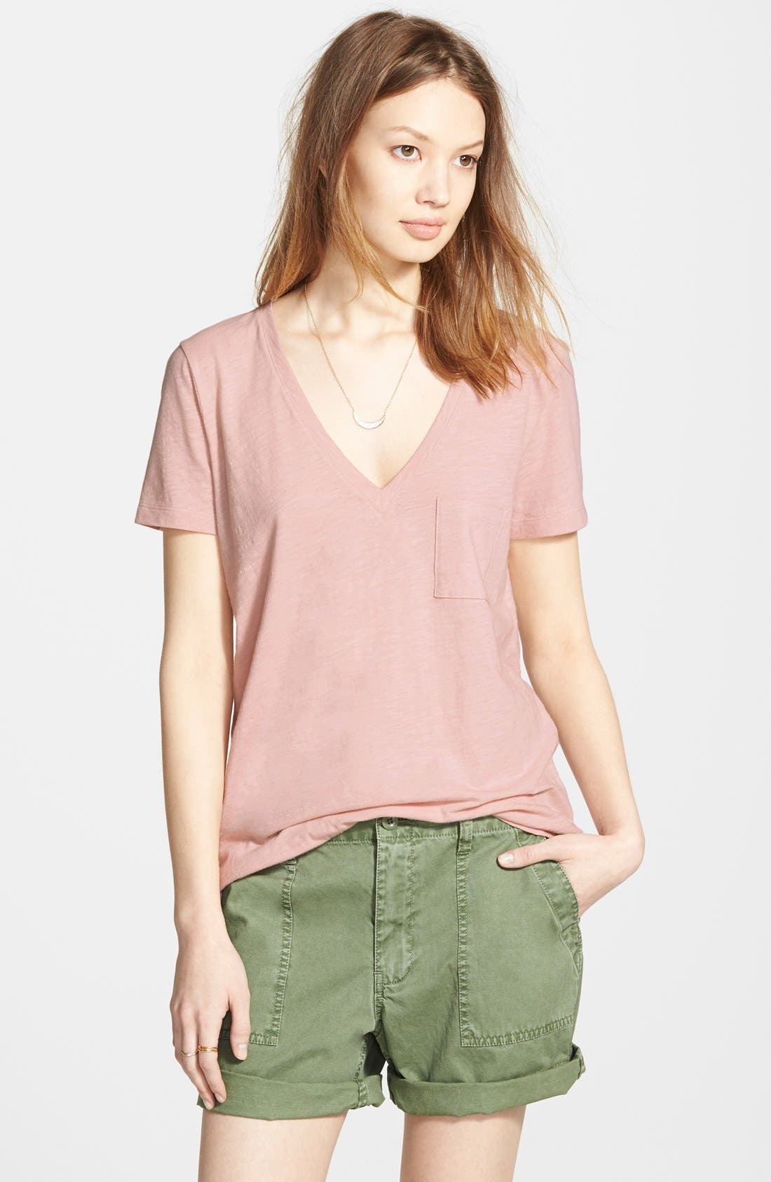 Whisper Cotton V-Neck Pocket Tee,                             Main thumbnail 4, color,