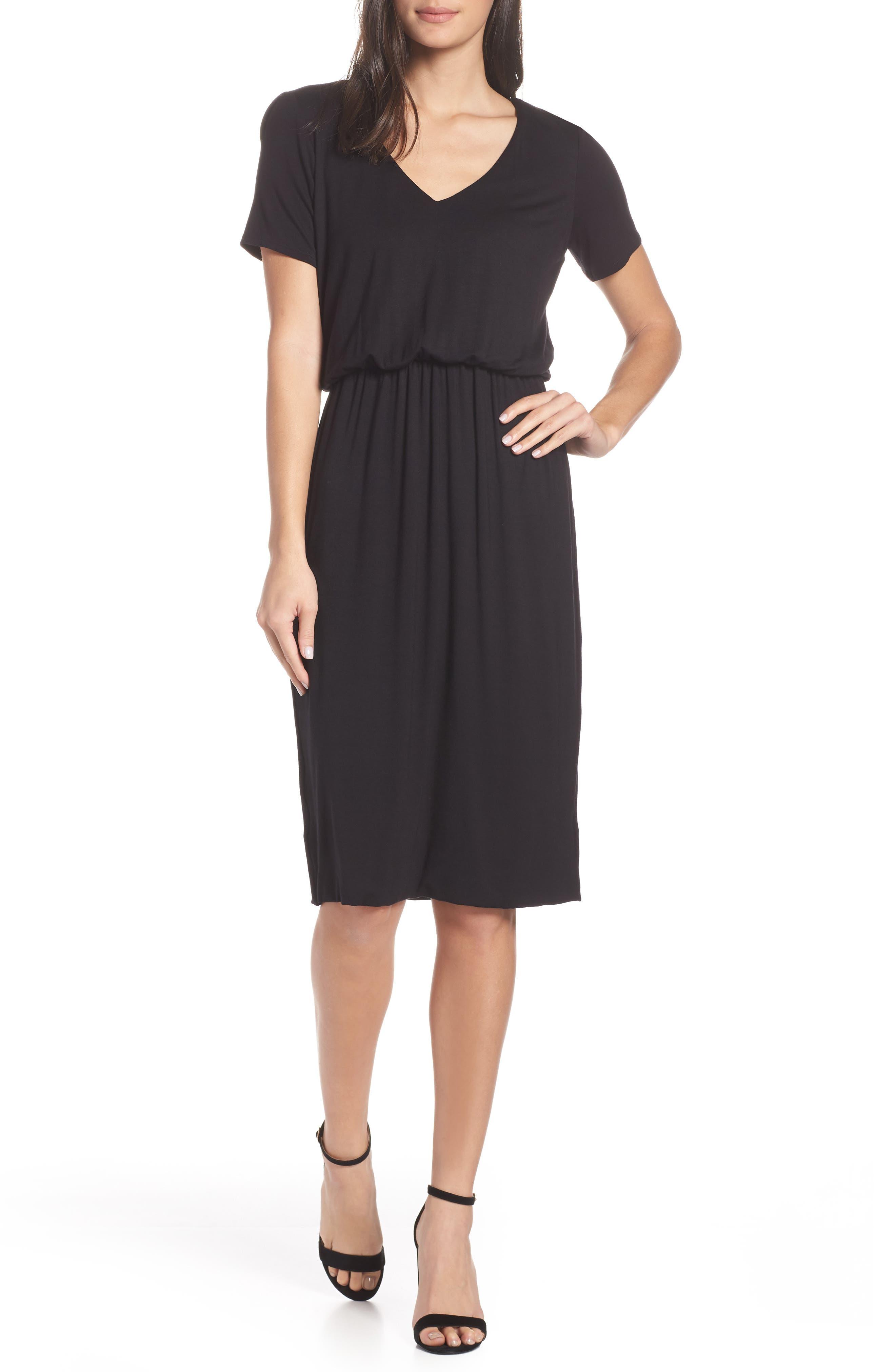 Charles Henry Bloused Knit Dress, Black