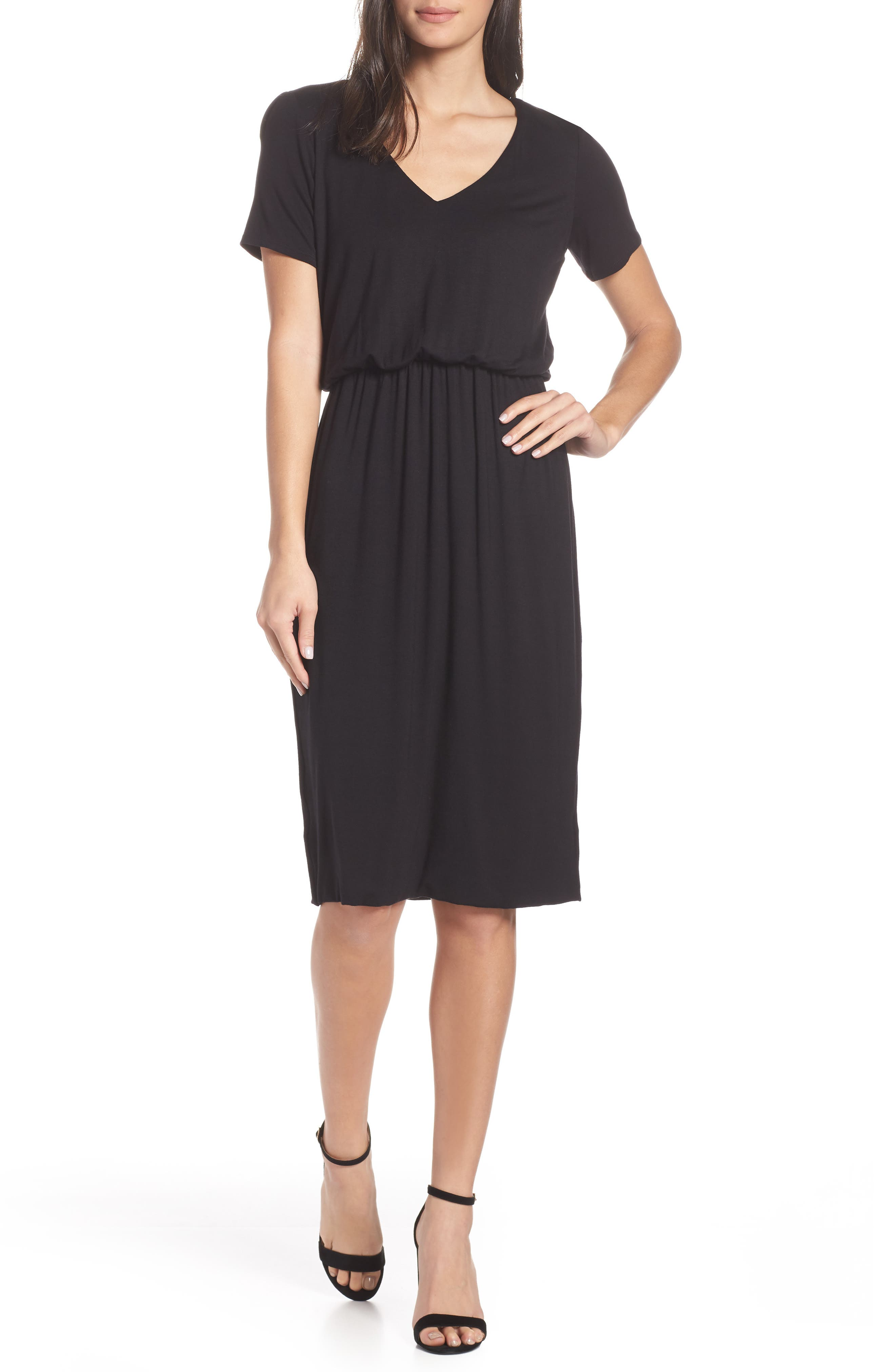 CHARLES HENRY Bloused Knit Dress in Black