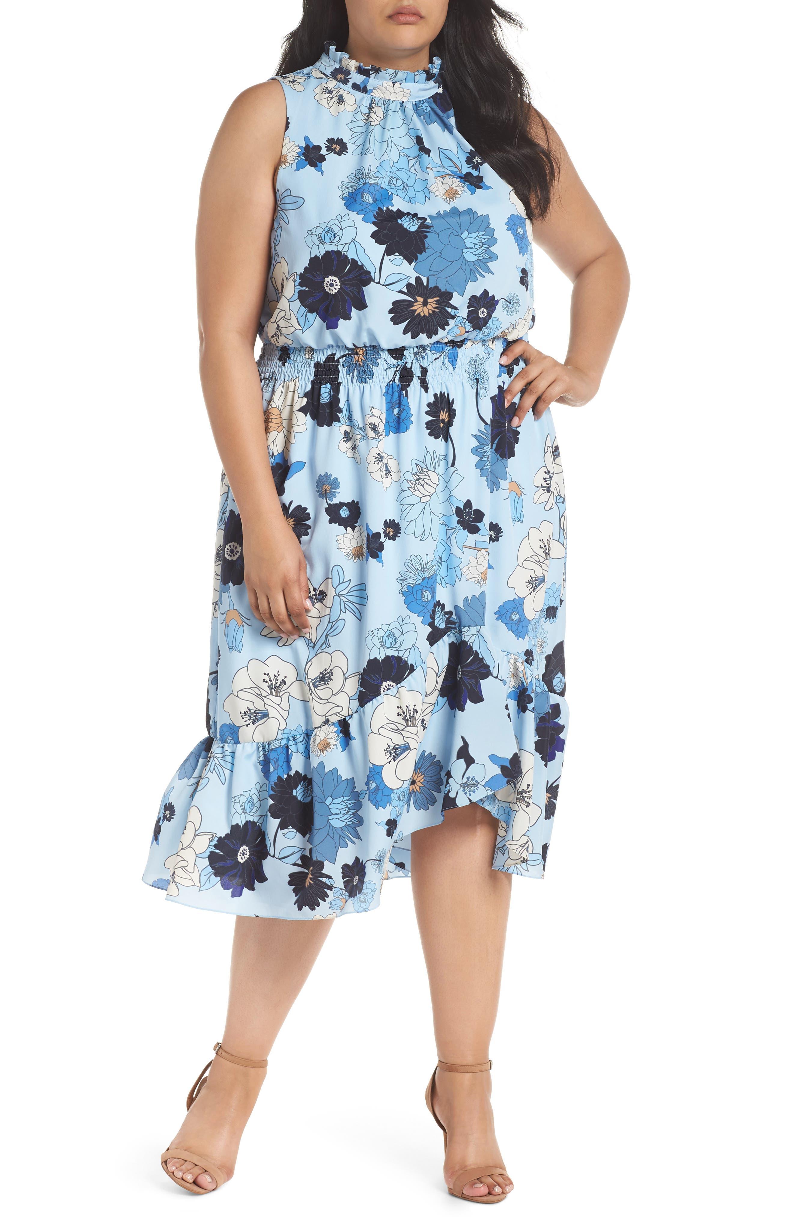 Floral Ruffle Neck Blouson Midi Dress,                             Main thumbnail 1, color,                             452