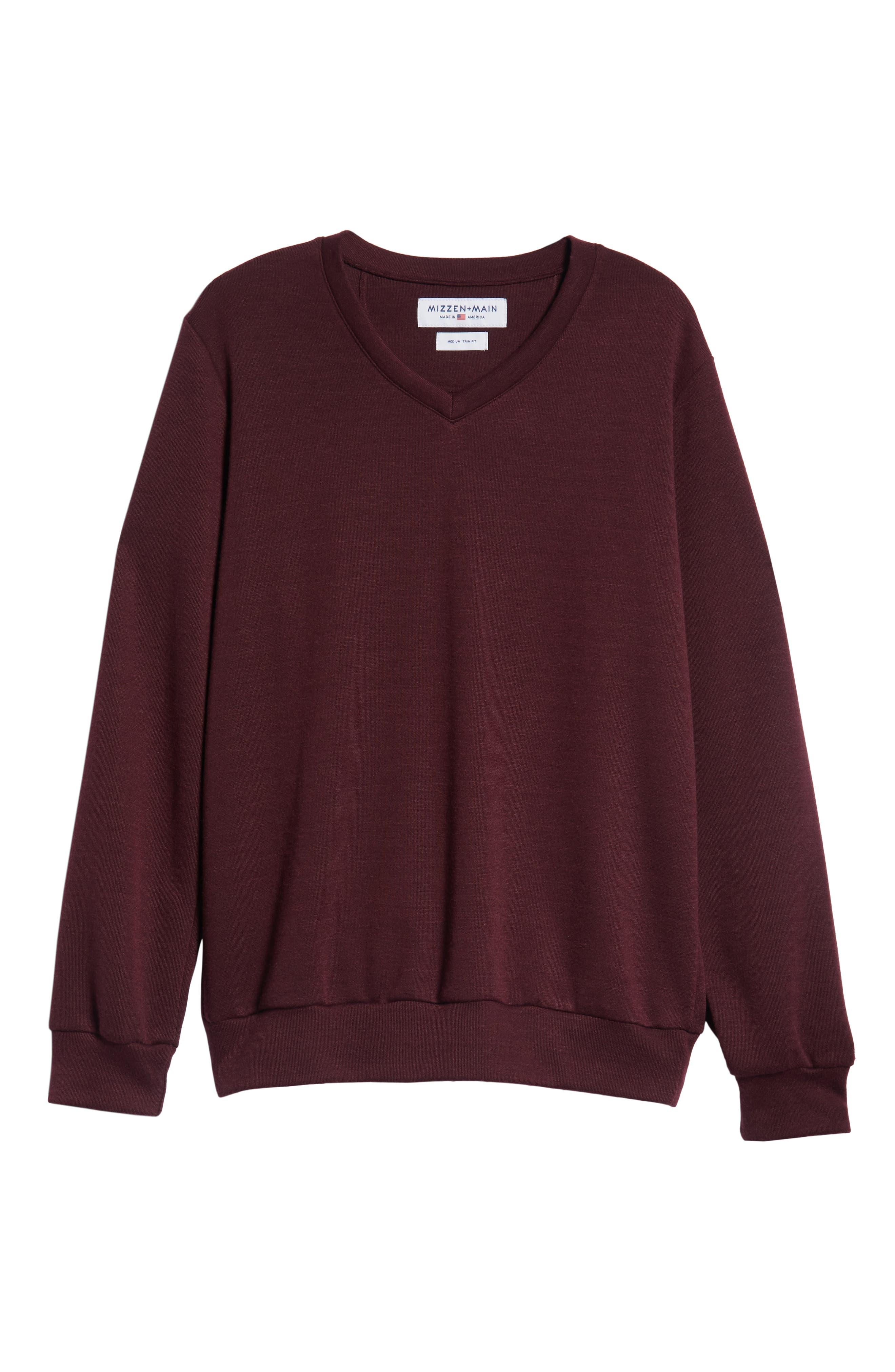 Pomerelle V-Neck Performance Sweater,                             Alternate thumbnail 6, color,                             MERLOT