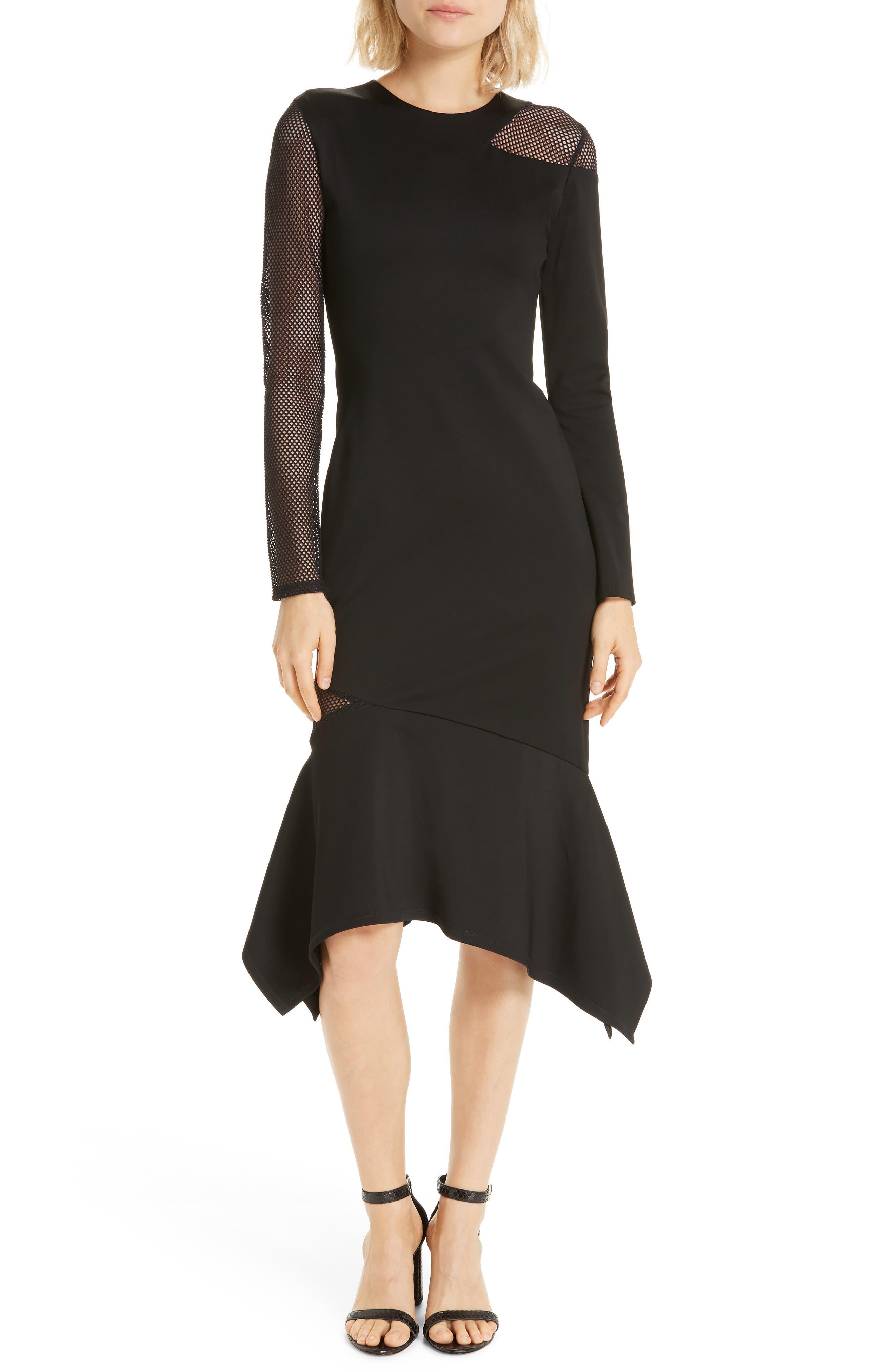 Alice + Olivia Kaine Mesh Inset Asymmetrical Hem Dress, Black