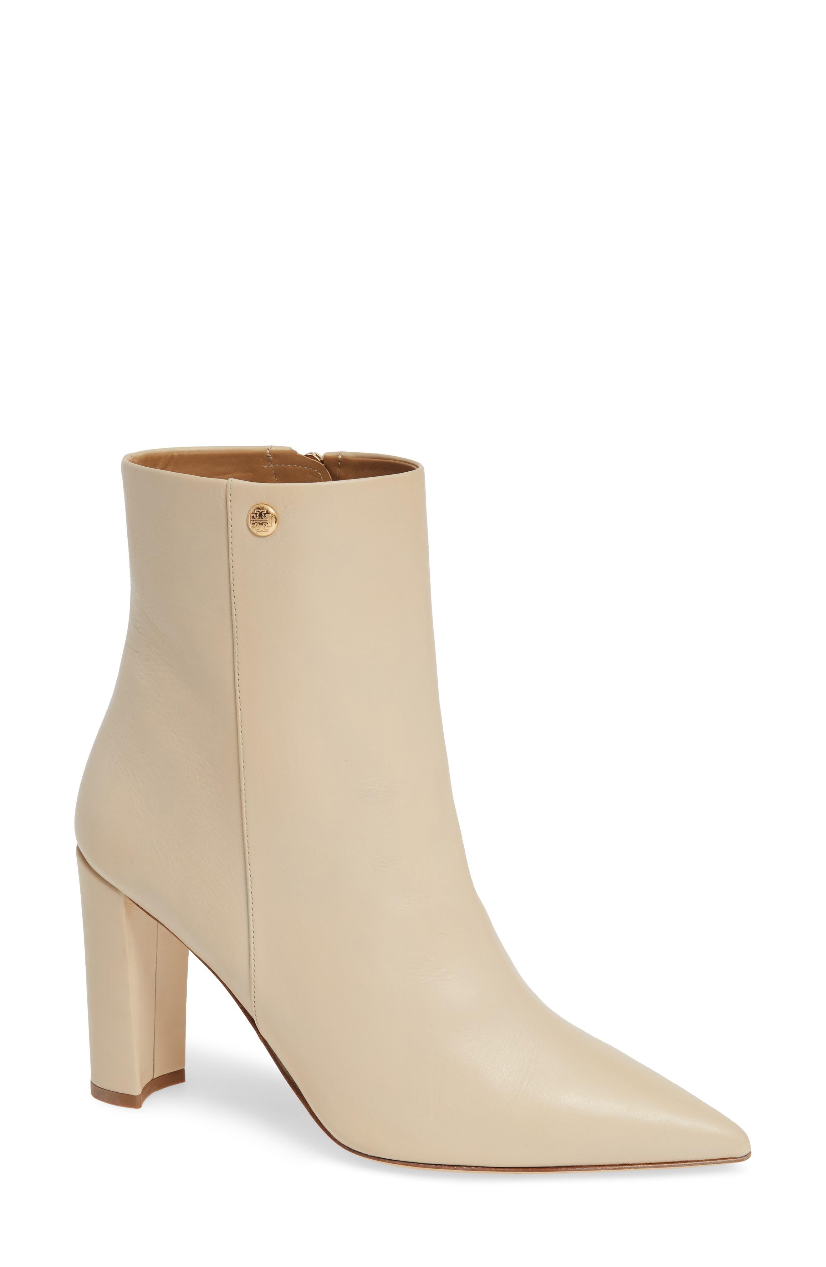 Women'S Penelope Pointed Toe Leather High-Heel Booties in Dulce De Leche