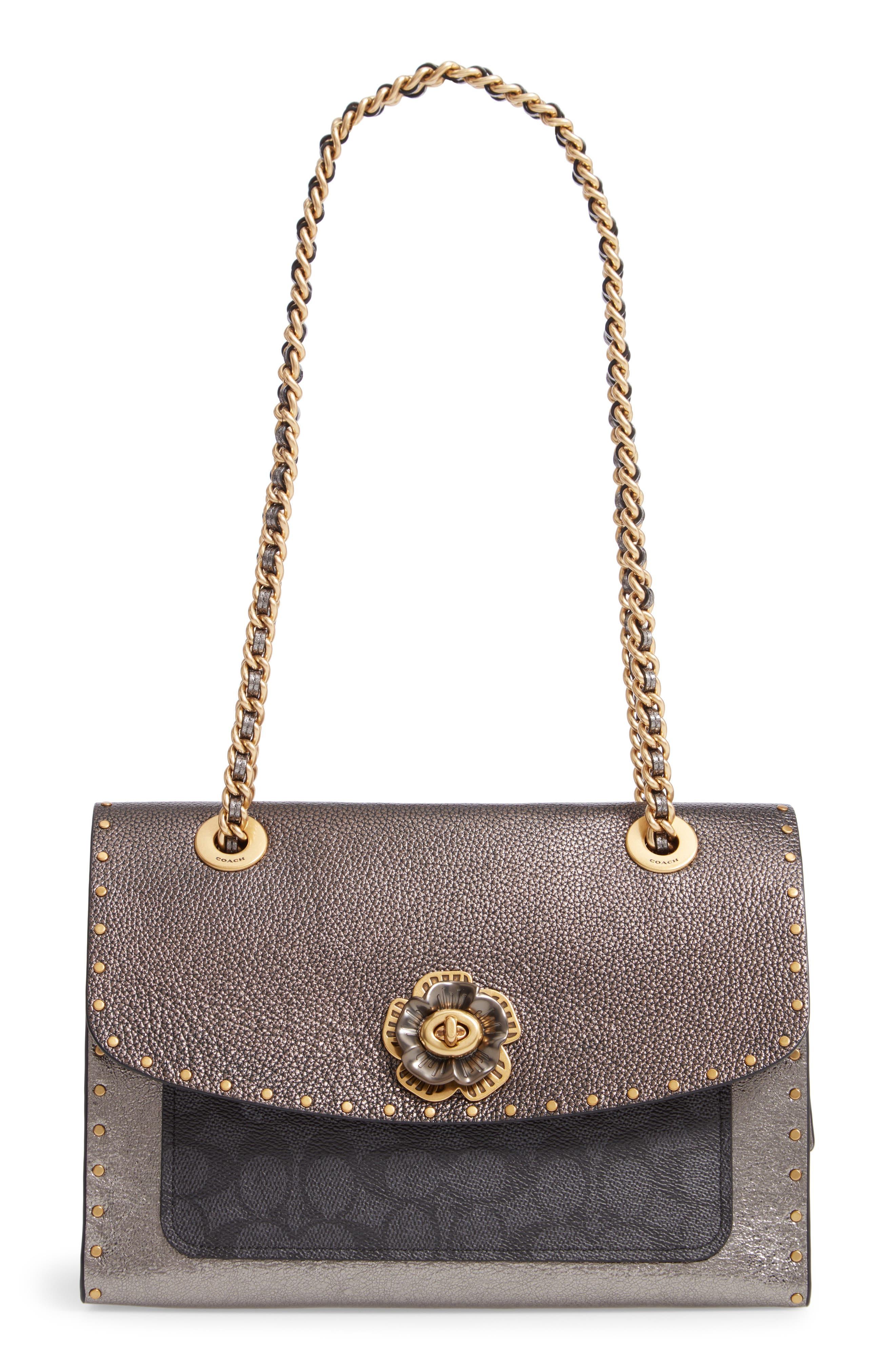 Signature Border Parker Leather & Genuine Snakeskin Shoulder Bag, Main, color, CHARCOAL METALLIC GRAPHITE