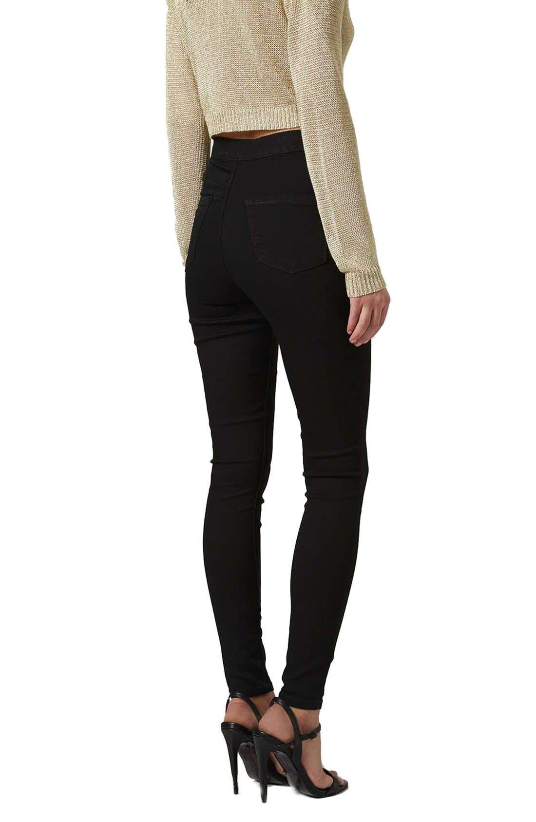 Joni High Waist Skinny Jeans,                             Alternate thumbnail 6, color,                             BLACK