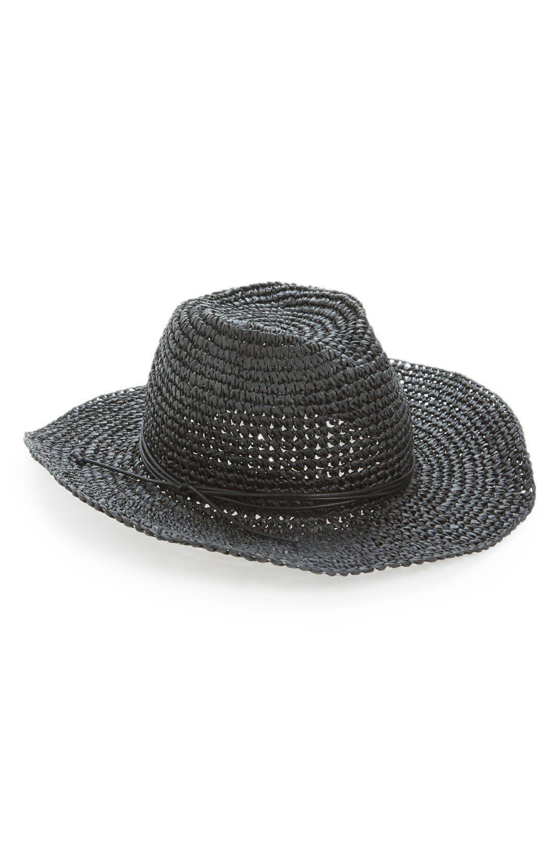 HINGE,                             'Layla' Straw Cowboy Hat,                             Main thumbnail 1, color,                             001