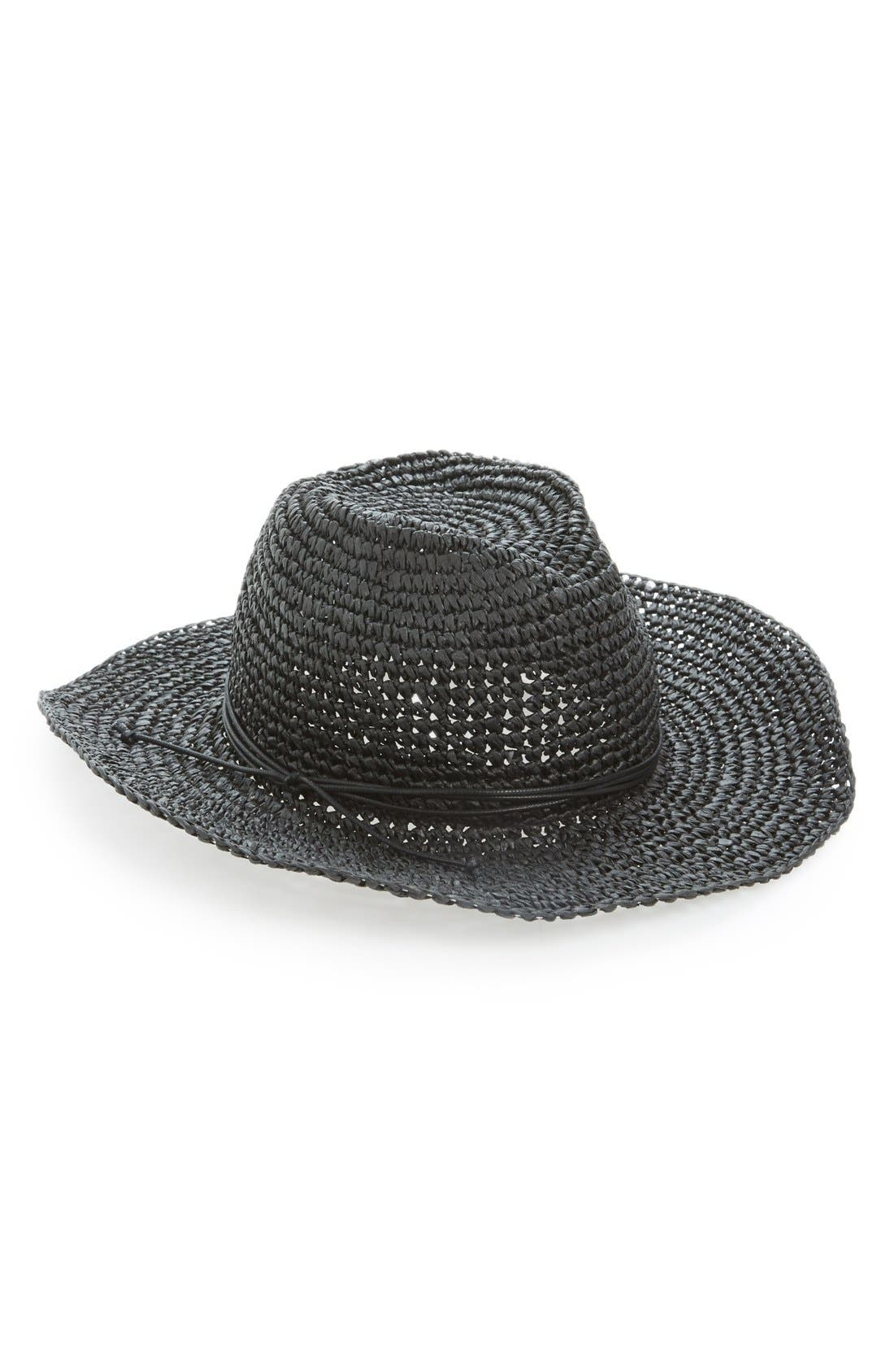 HINGE 'Layla' Straw Cowboy Hat, Main, color, 001