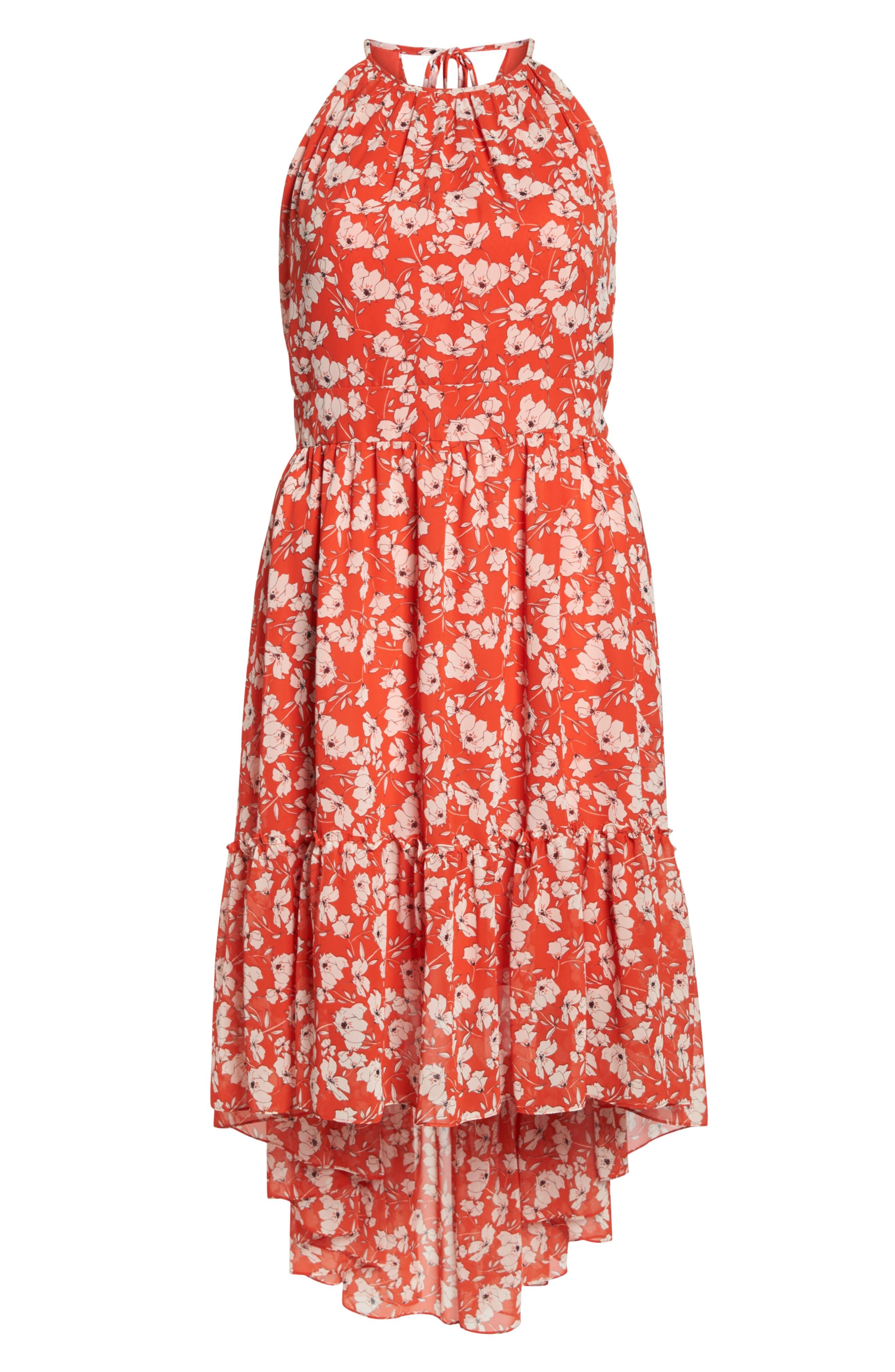 Ruffle Hem Halter Neck Chiffon Dress,                             Alternate thumbnail 7, color,                             600