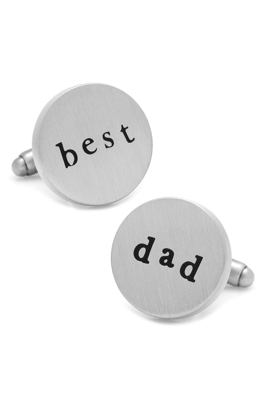 Best Dad Cuff Links,                             Main thumbnail 1, color,                             SILVER