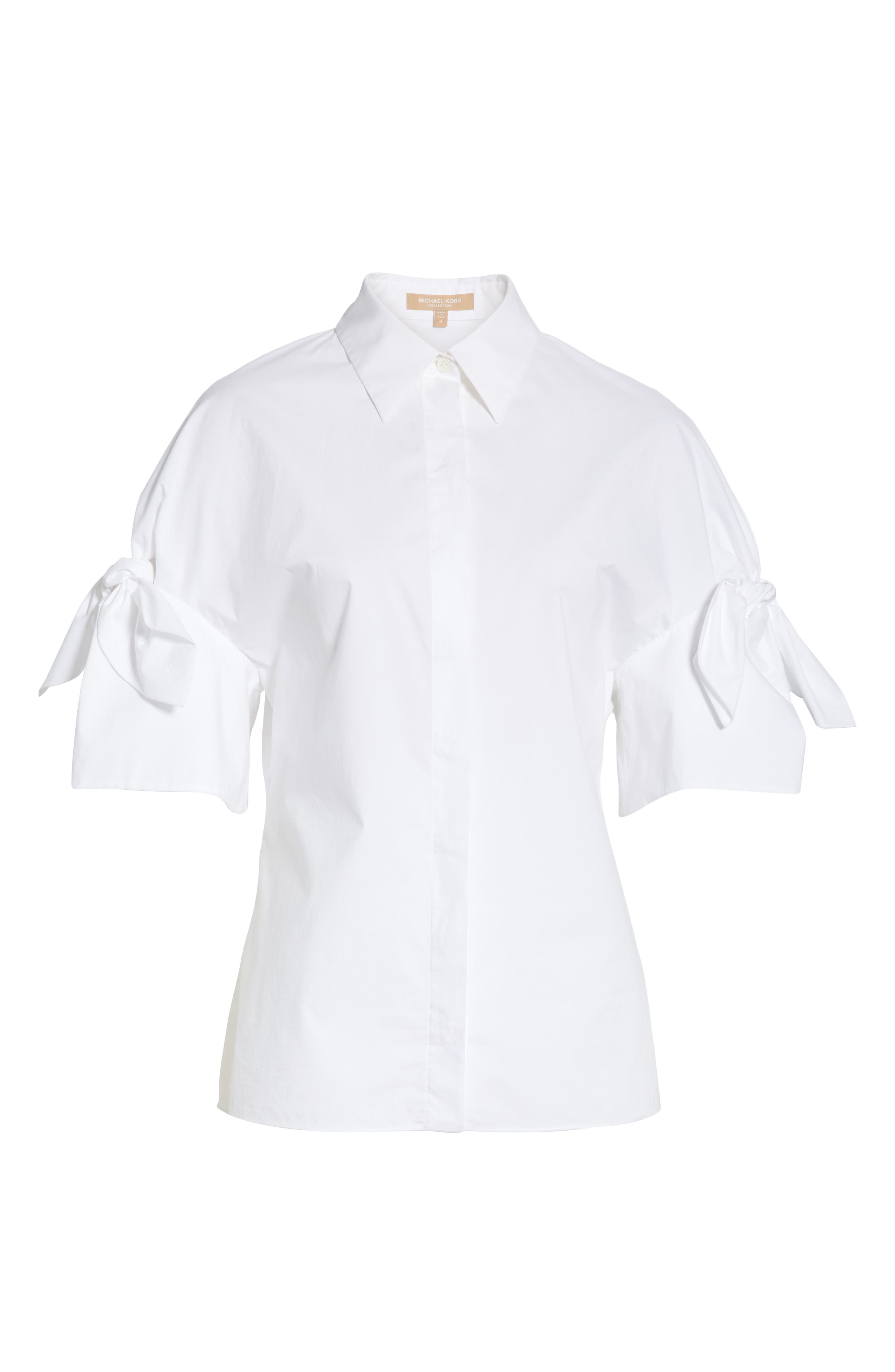 Tie Sleeve Poplin Shirt,                             Alternate thumbnail 7, color,                             OPTIC WHITE
