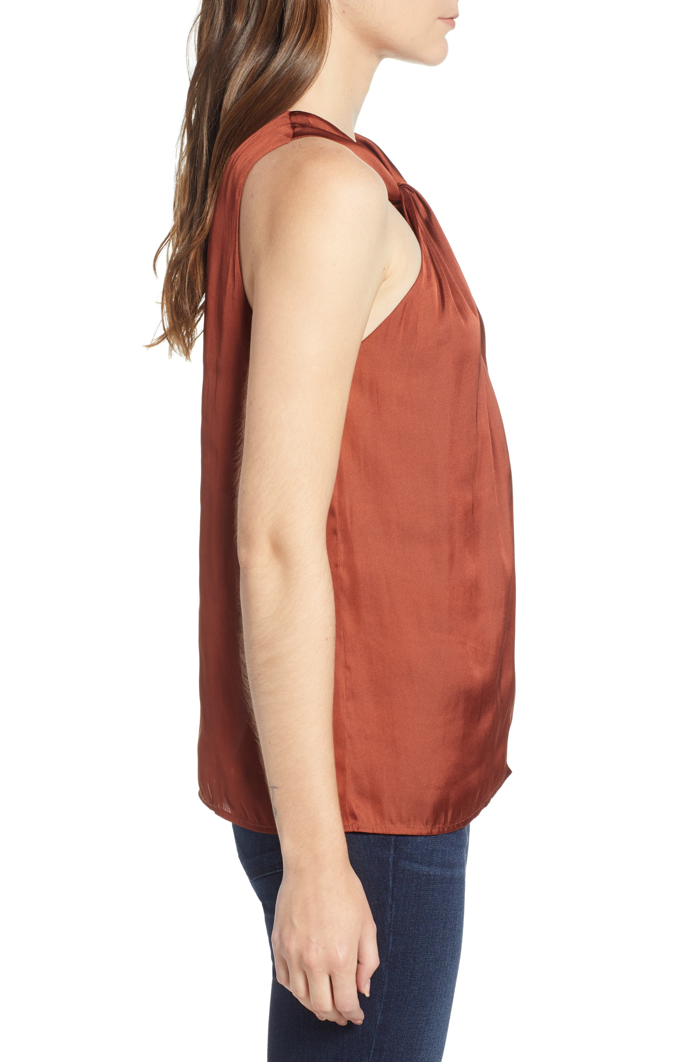 Twist Front Top,                             Alternate thumbnail 3, color,                             RED OCHRE