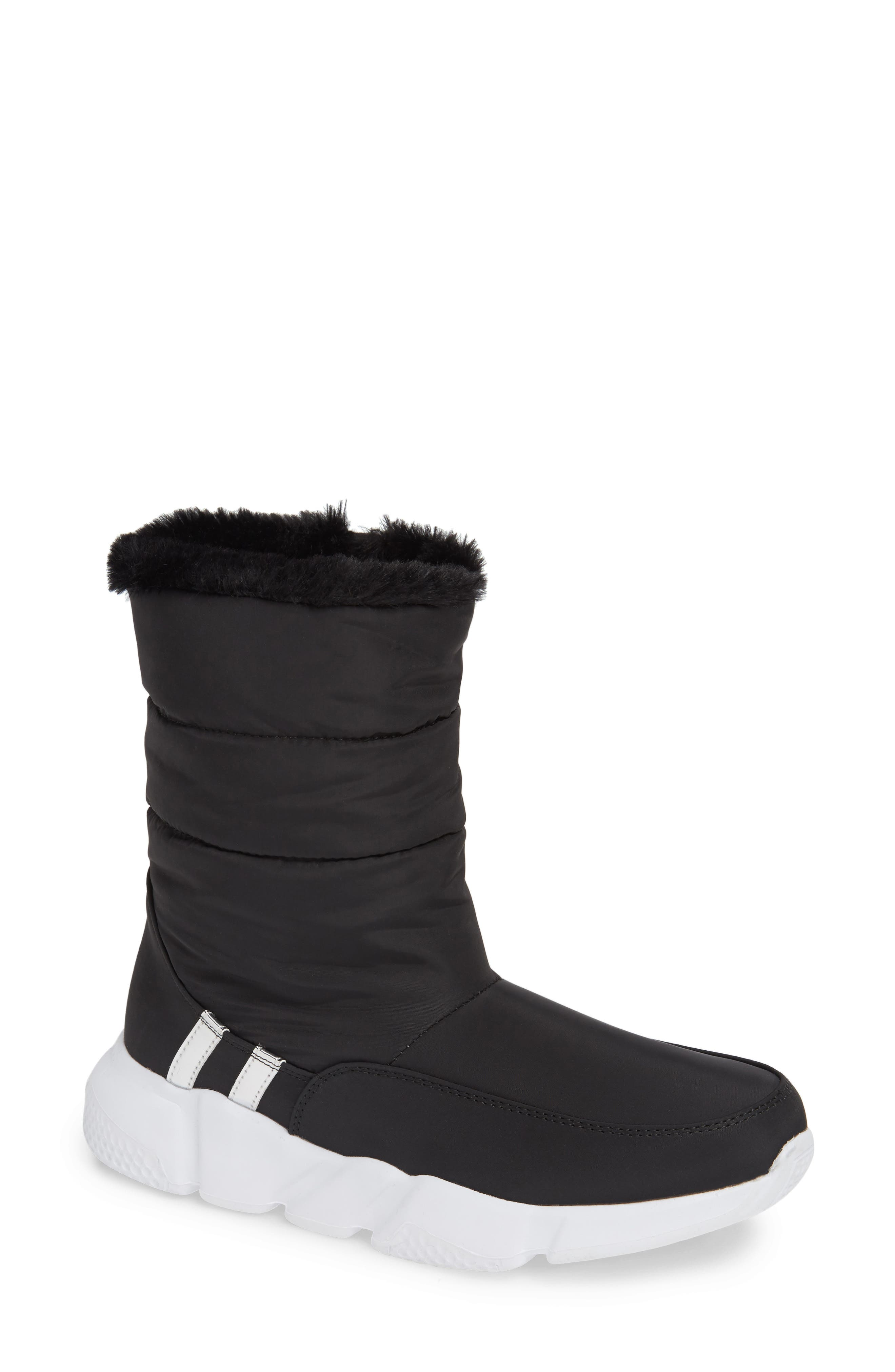 STEVE MADDEN Snowday Faux Fur Lined Boot, Main, color, BLACK