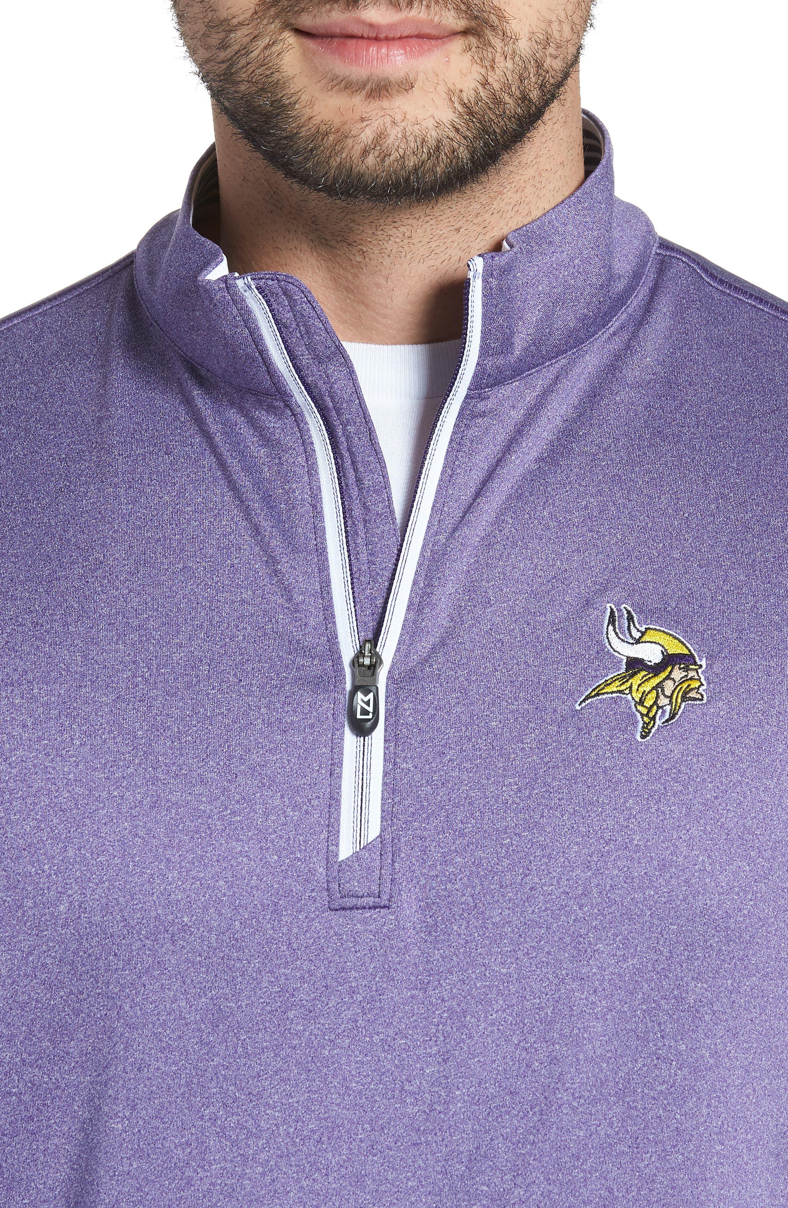 Endurance Minnesota Vikings Regular Fit Pullover,                             Alternate thumbnail 4, color,                             COLLEGE PURPLE HEATHER