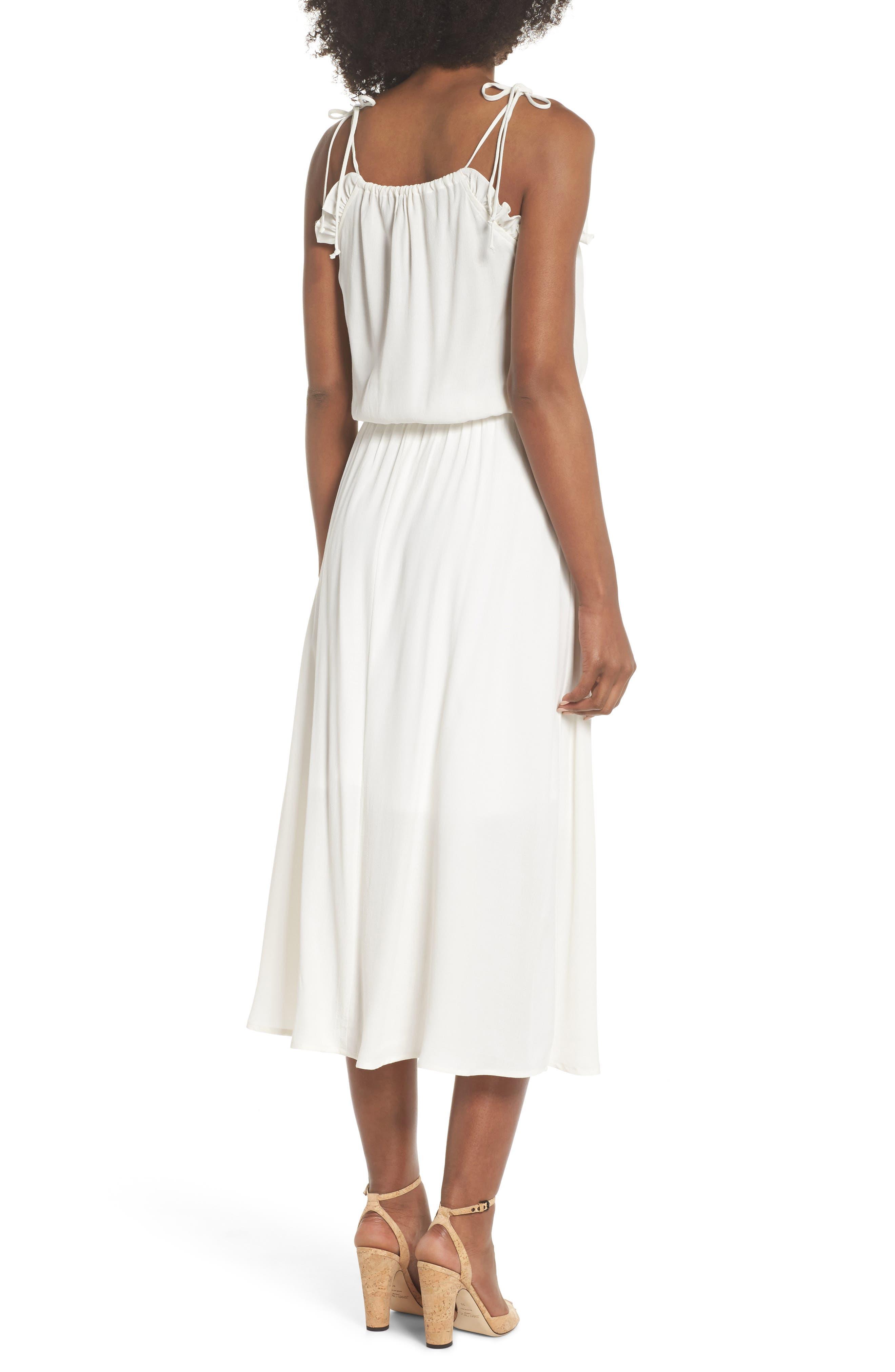 Ruffle Midi Dress,                             Alternate thumbnail 2, color,                             OFF WHITE