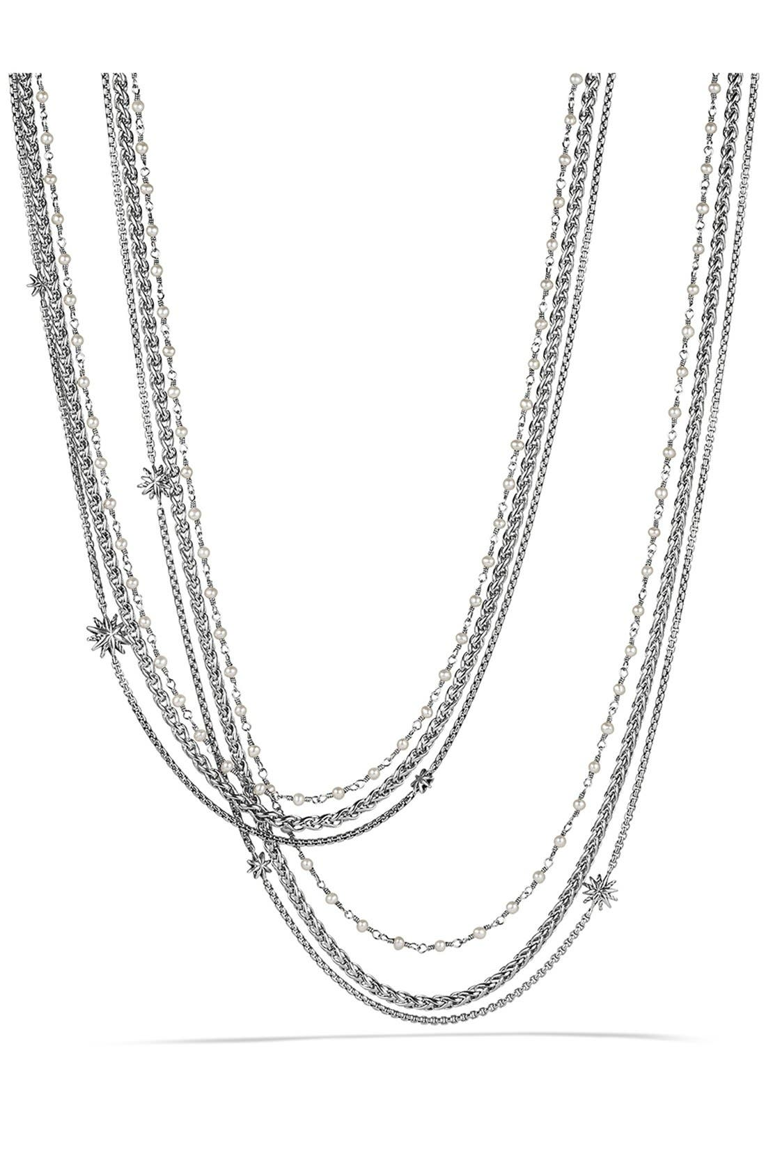 DAVID YURMAN,                             'Starburst' Chain Necklace with Pearls,                             Main thumbnail 1, color,                             PEARL/ SILVER