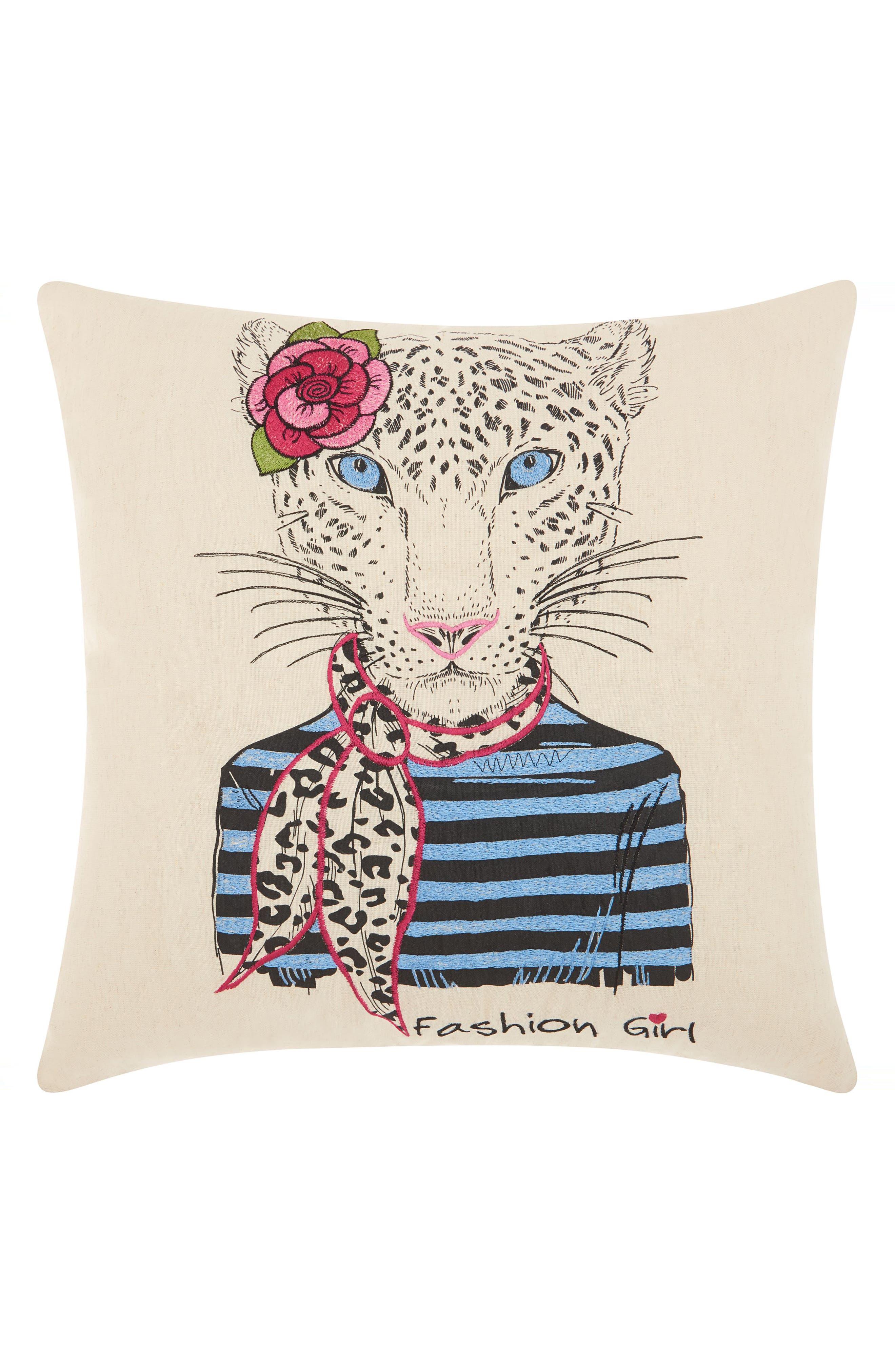 Snow Leopard Scarf Accent Pillow,                             Main thumbnail 1, color,