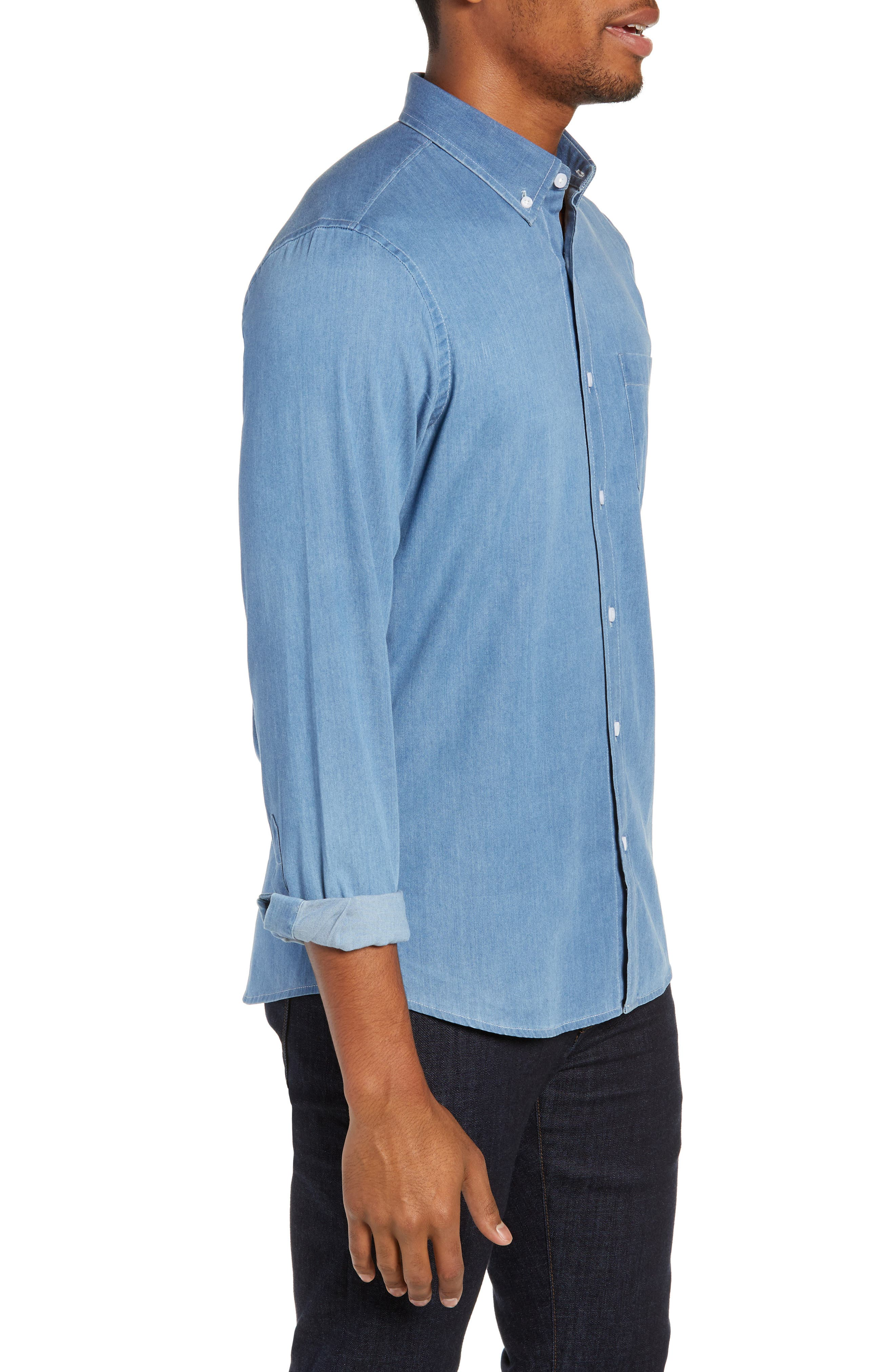 Slim Fit Chambray Sport Shirt,                             Alternate thumbnail 4, color,                             BLUE HEAVEN CHAMBRAY