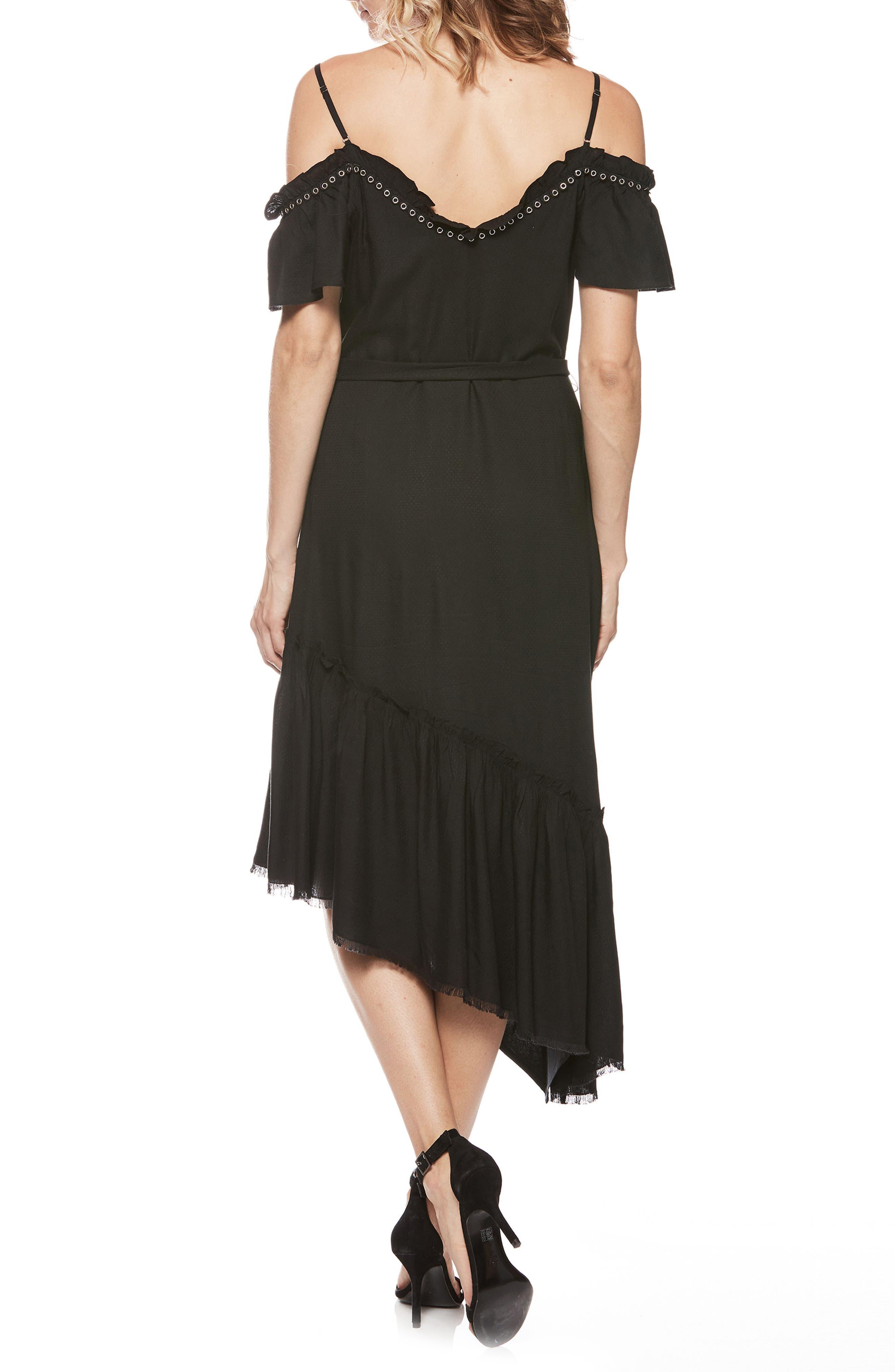 Aylin Asymmetrical Cold Shoulder Dress,                             Alternate thumbnail 2, color,                             BLACK