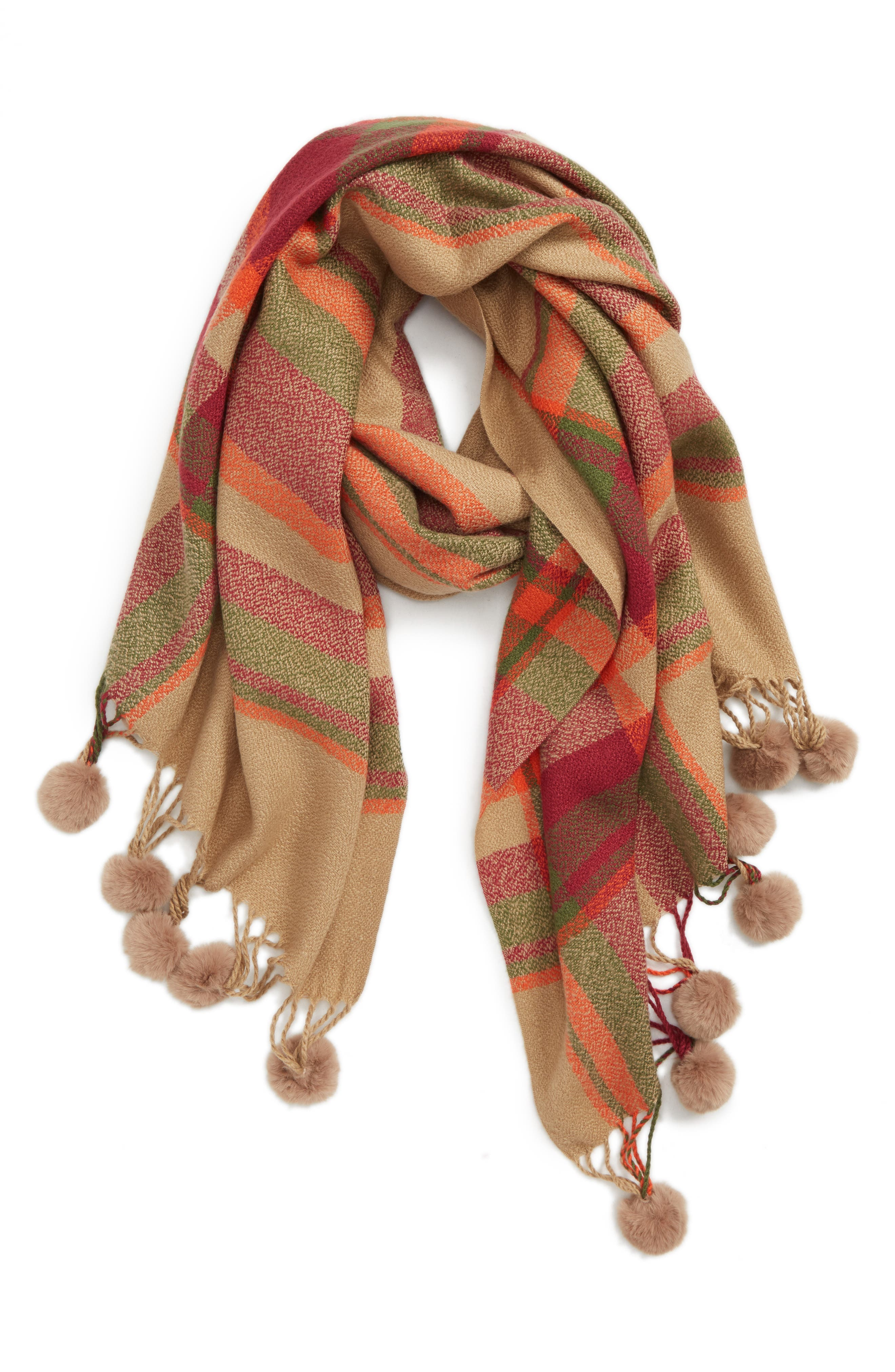 Plaid Scarf with Pompom Fringe,                             Main thumbnail 1, color,                             CAMEL COMBO