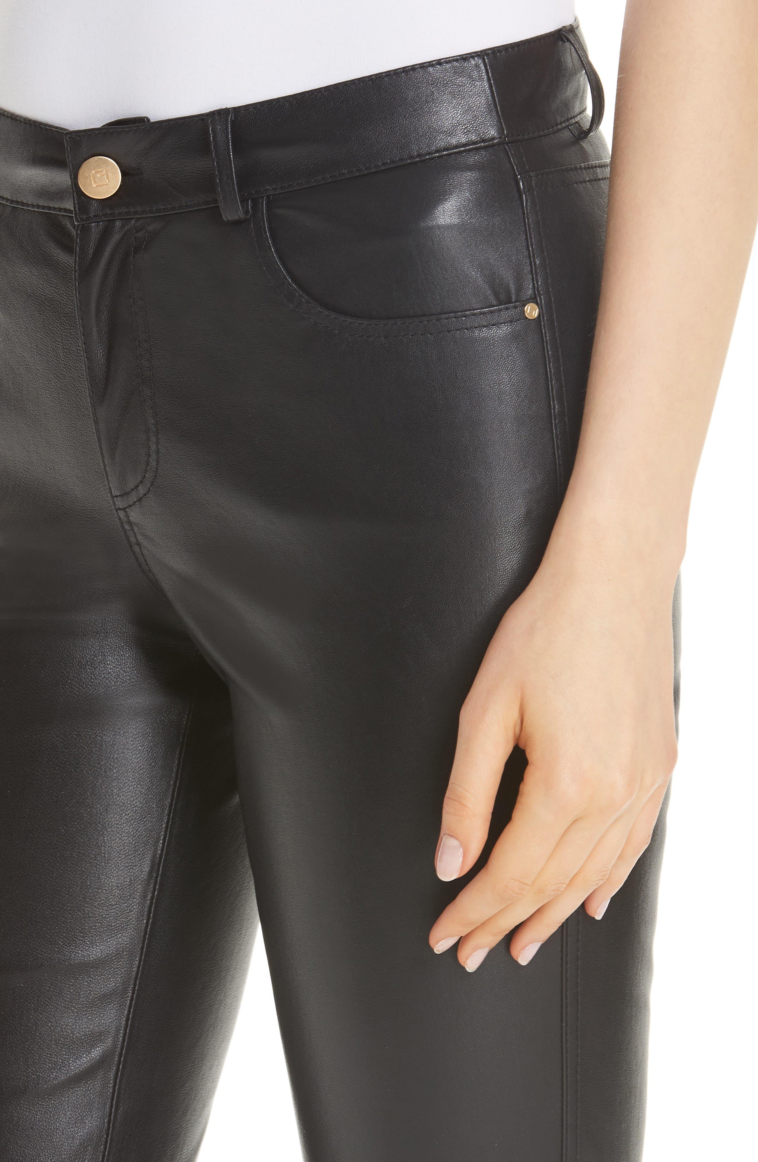 Mercer Nappa Leather Pants,                             Alternate thumbnail 4, color,                             BLACK