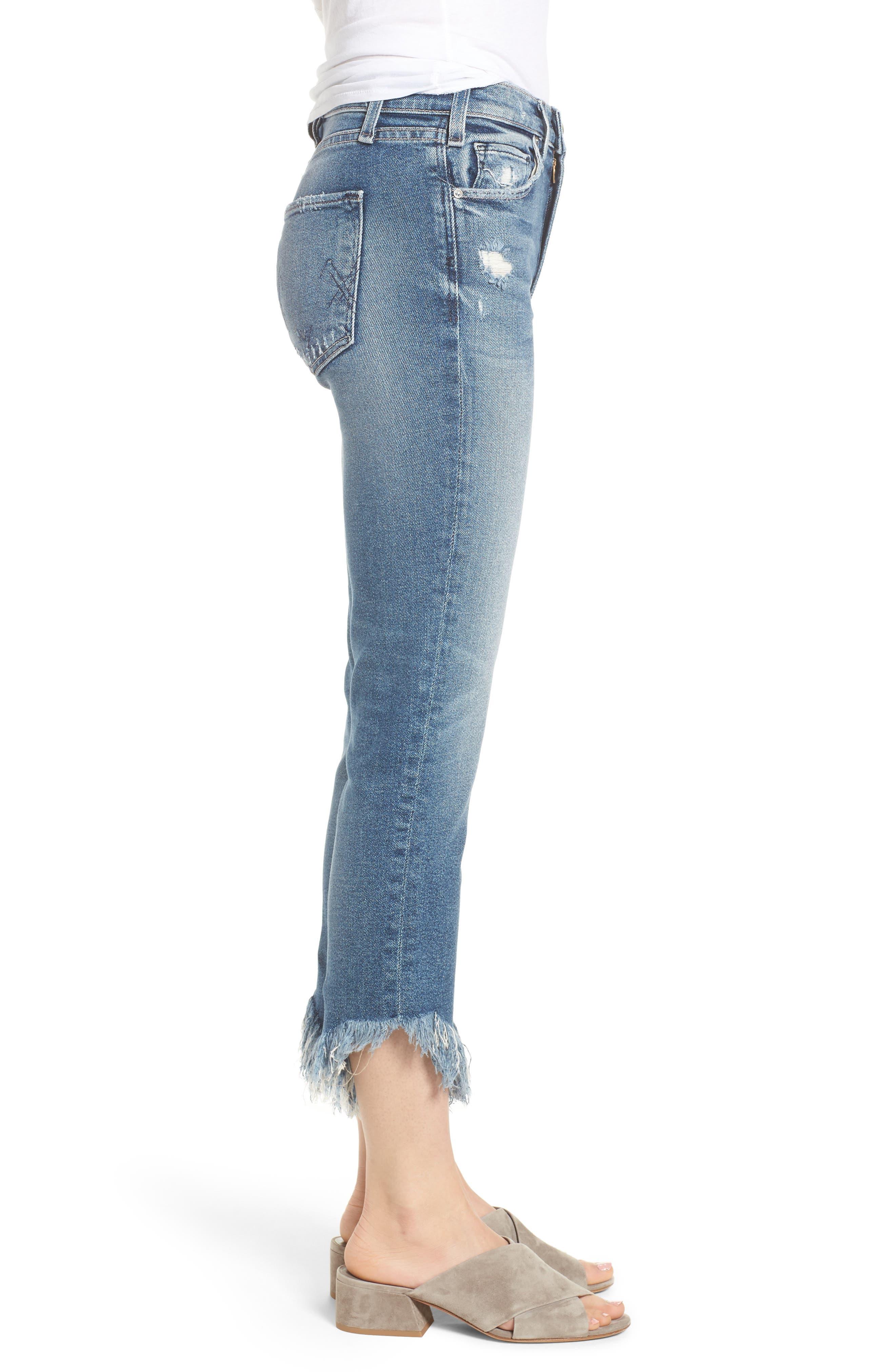 Valletta High Waist Crop Straight Leg Jeans,                             Alternate thumbnail 3, color,                             450