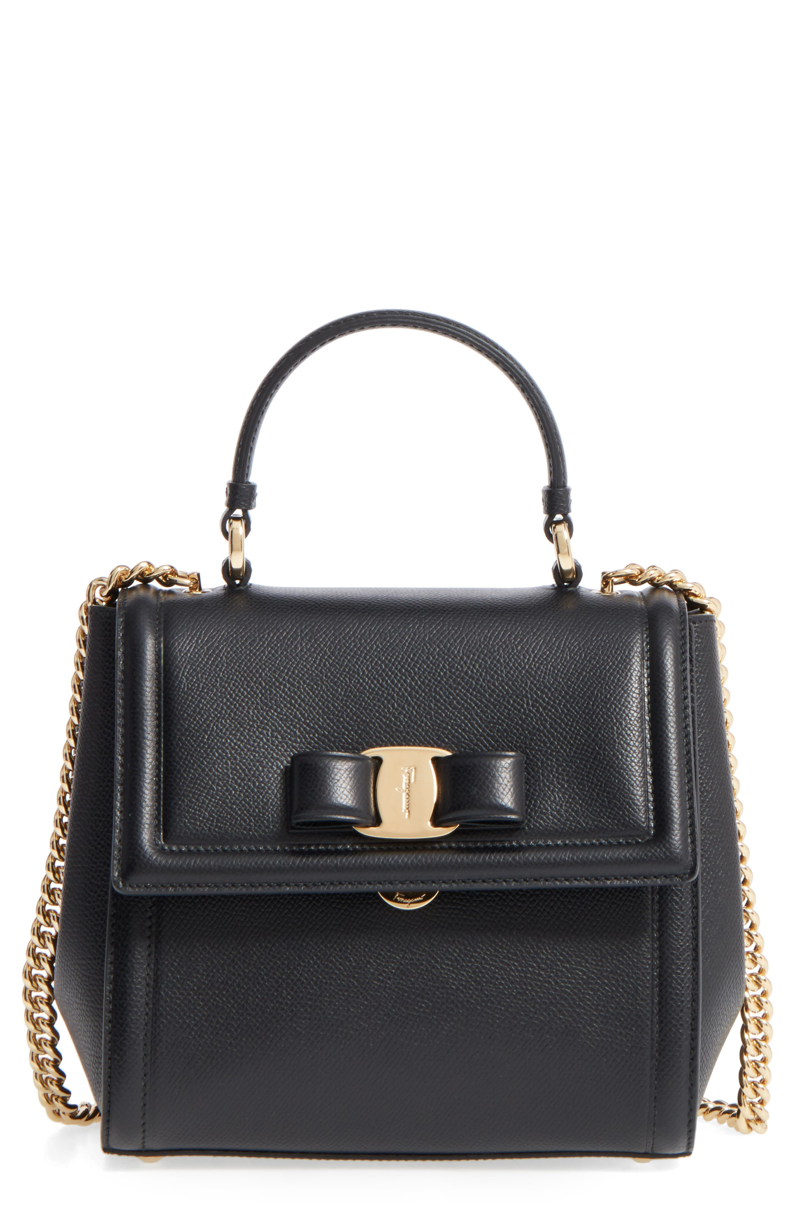 SALVATORE FERRAGAMO,                             Small Carrie Leather Bow Satchel,                             Main thumbnail 1, color,                             NERO