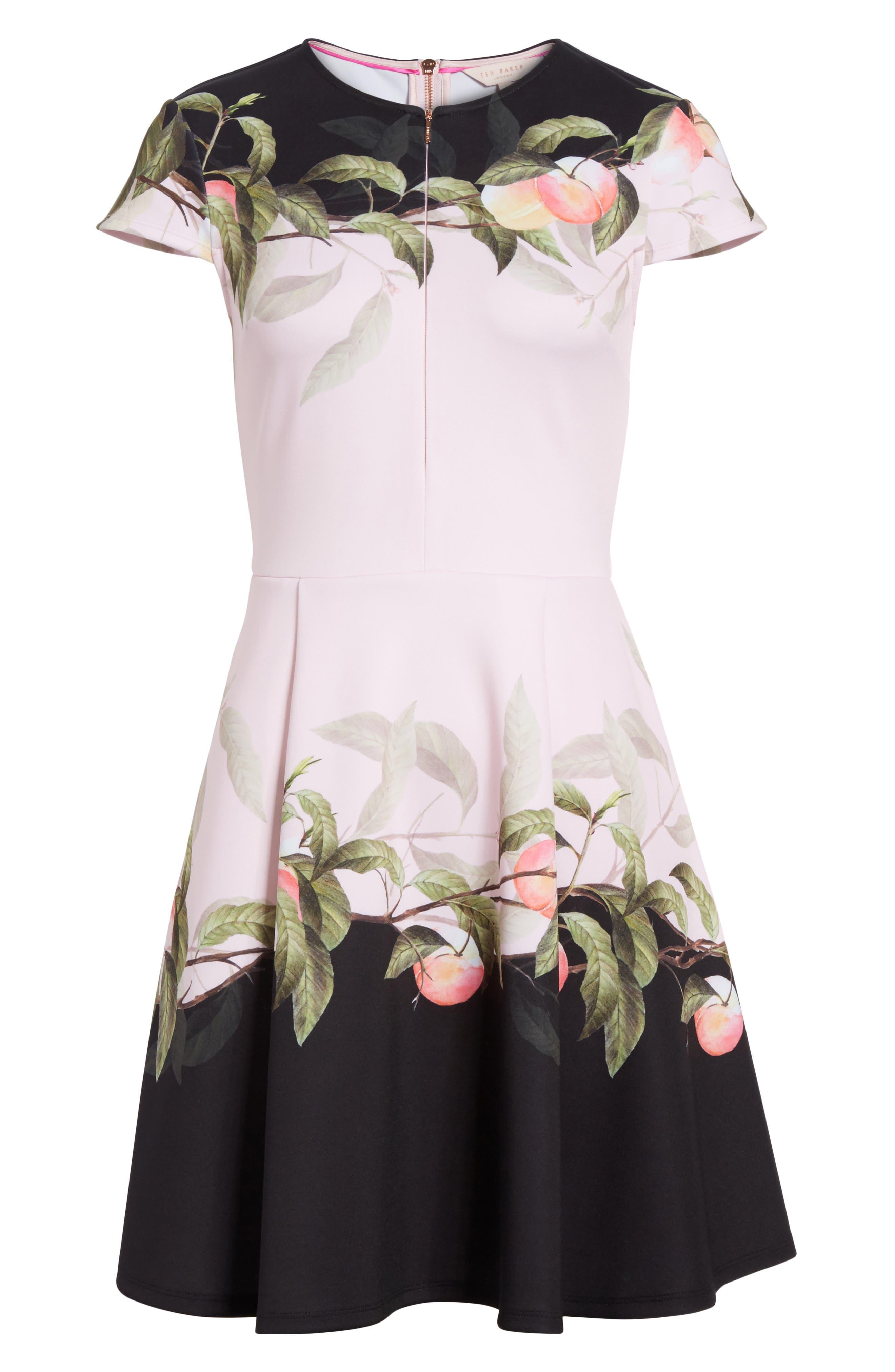 Peach Blossom Jersey Skater Dress,                             Alternate thumbnail 6, color,                             683