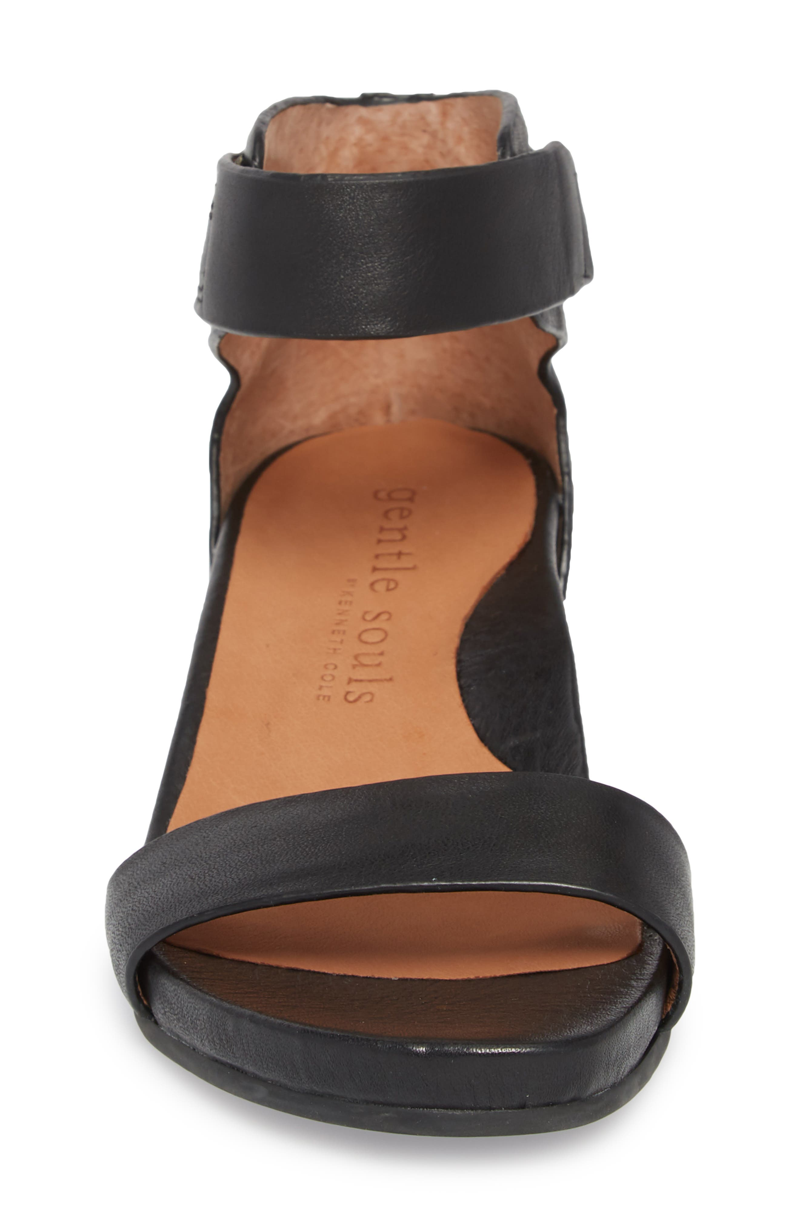 by Kenneth Cole Gianna Wedge Sandal,                             Alternate thumbnail 4, color,                             BLACK LEATHER