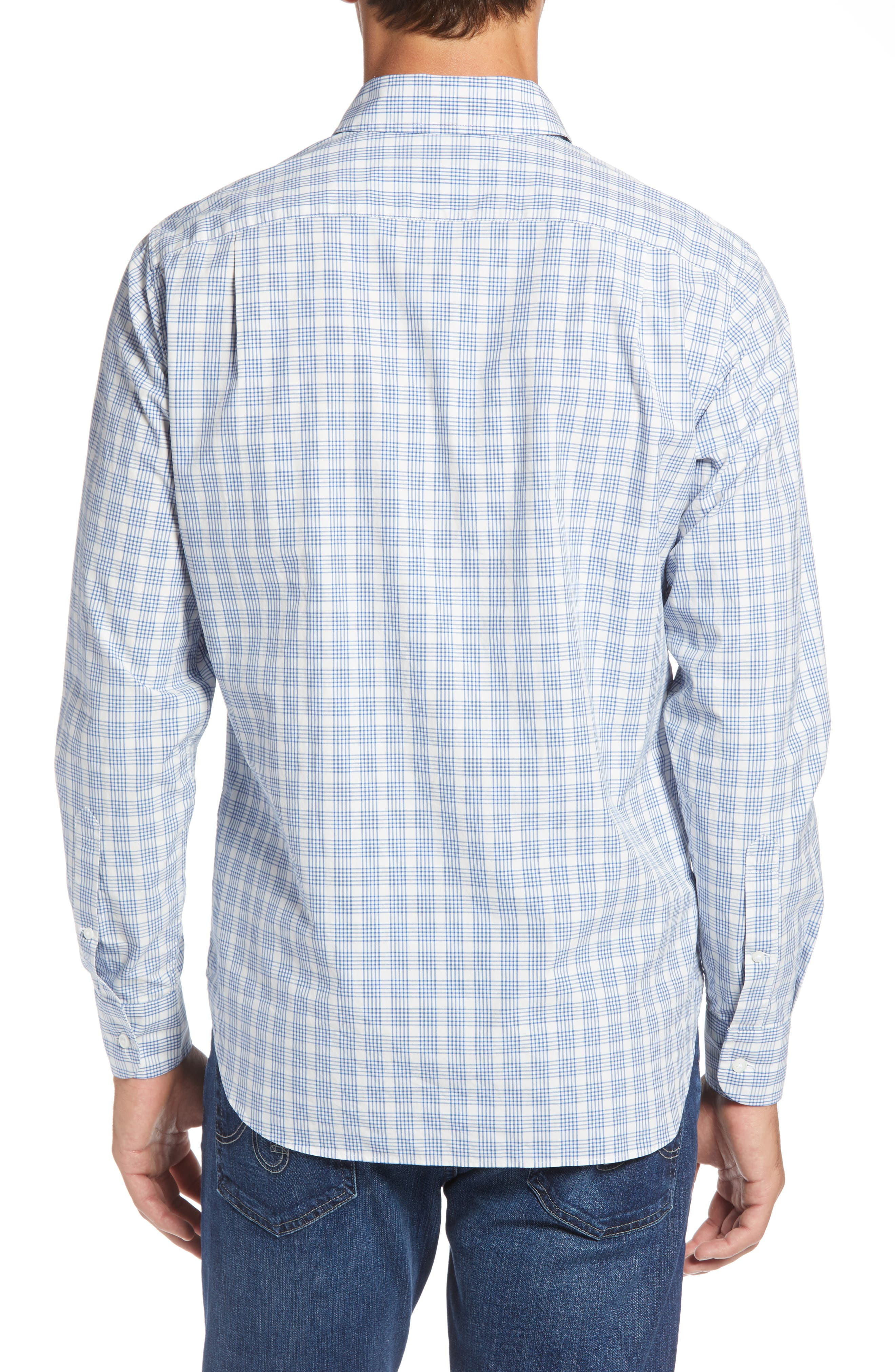Slim Fit Washed Check Sport Shirt,                             Alternate thumbnail 3, color,                             400