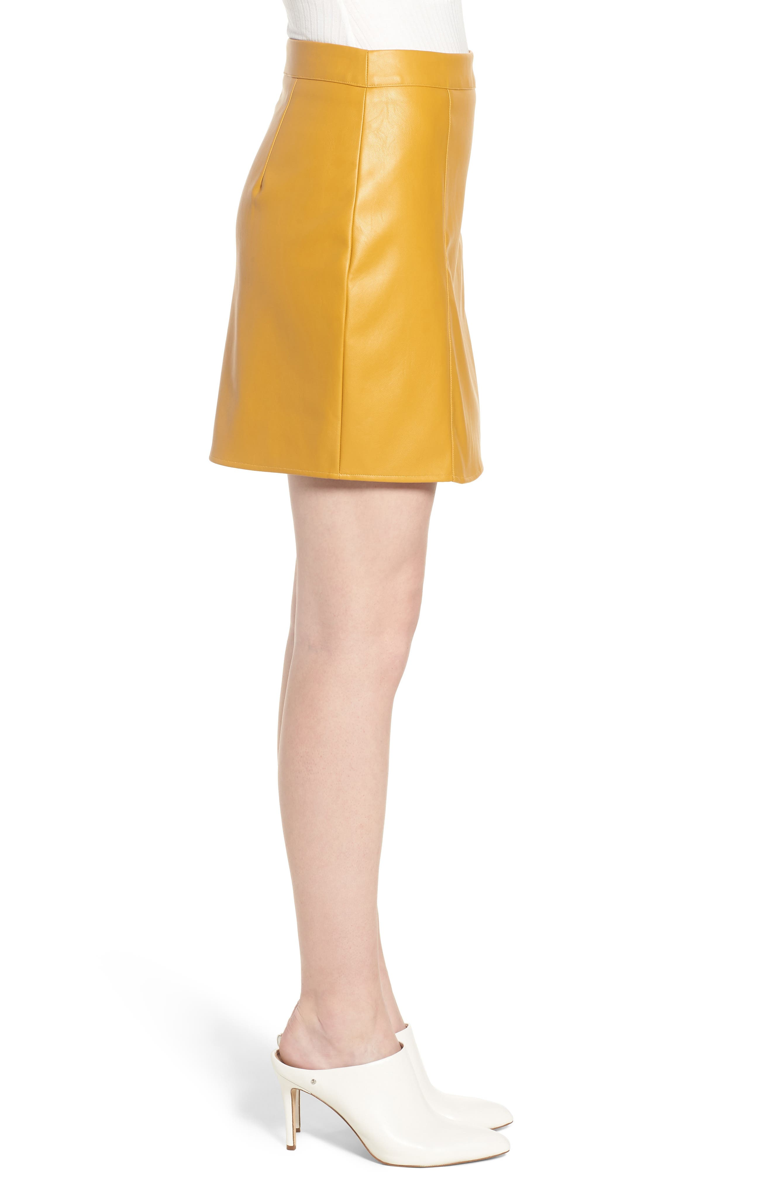 Bishop + Young Faux Leather Miniskirt,                             Alternate thumbnail 3, color,                             MUSTARD