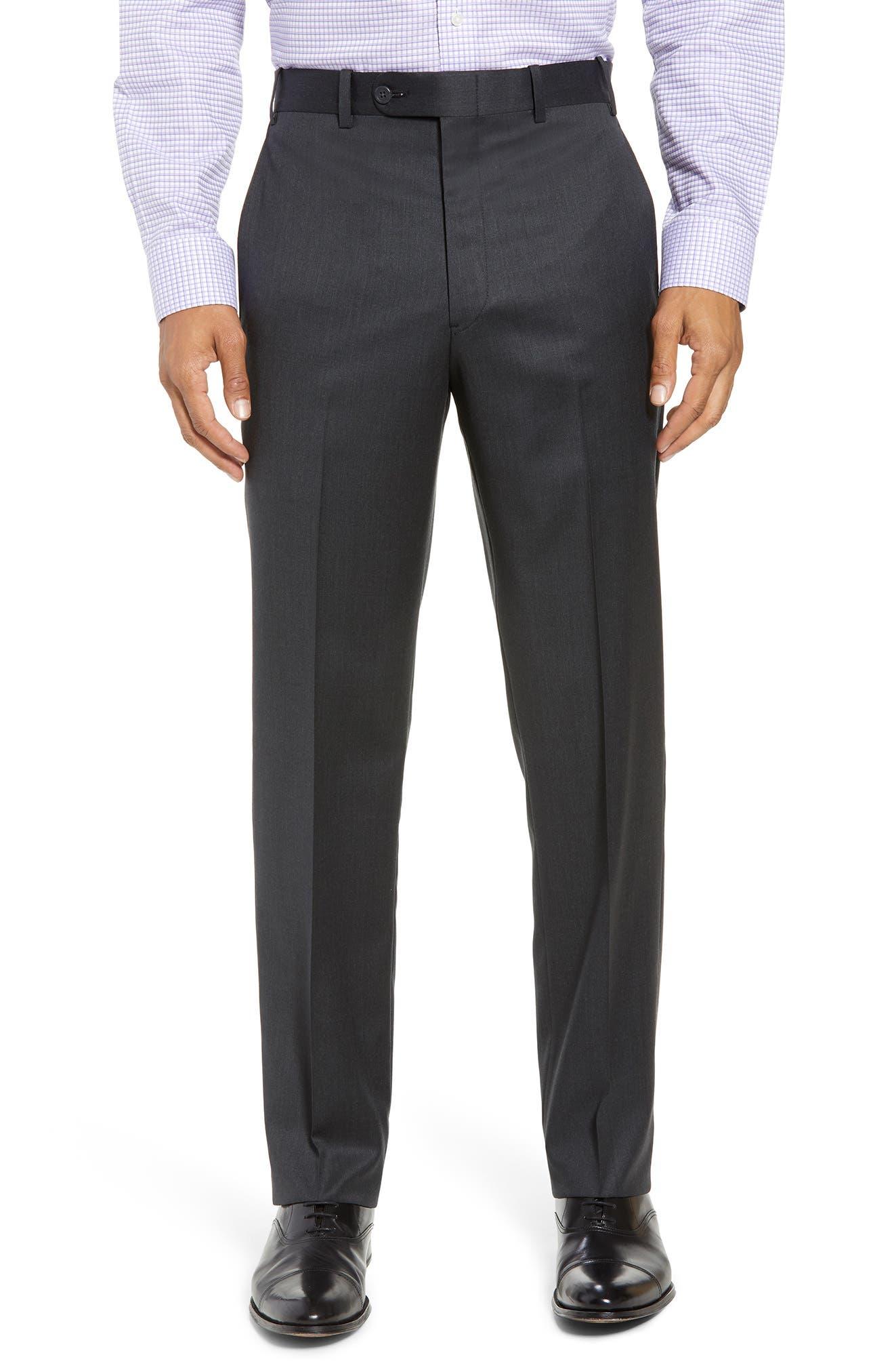 Torino Flat Front Wool Gabardine Trousers,                             Main thumbnail 2, color,