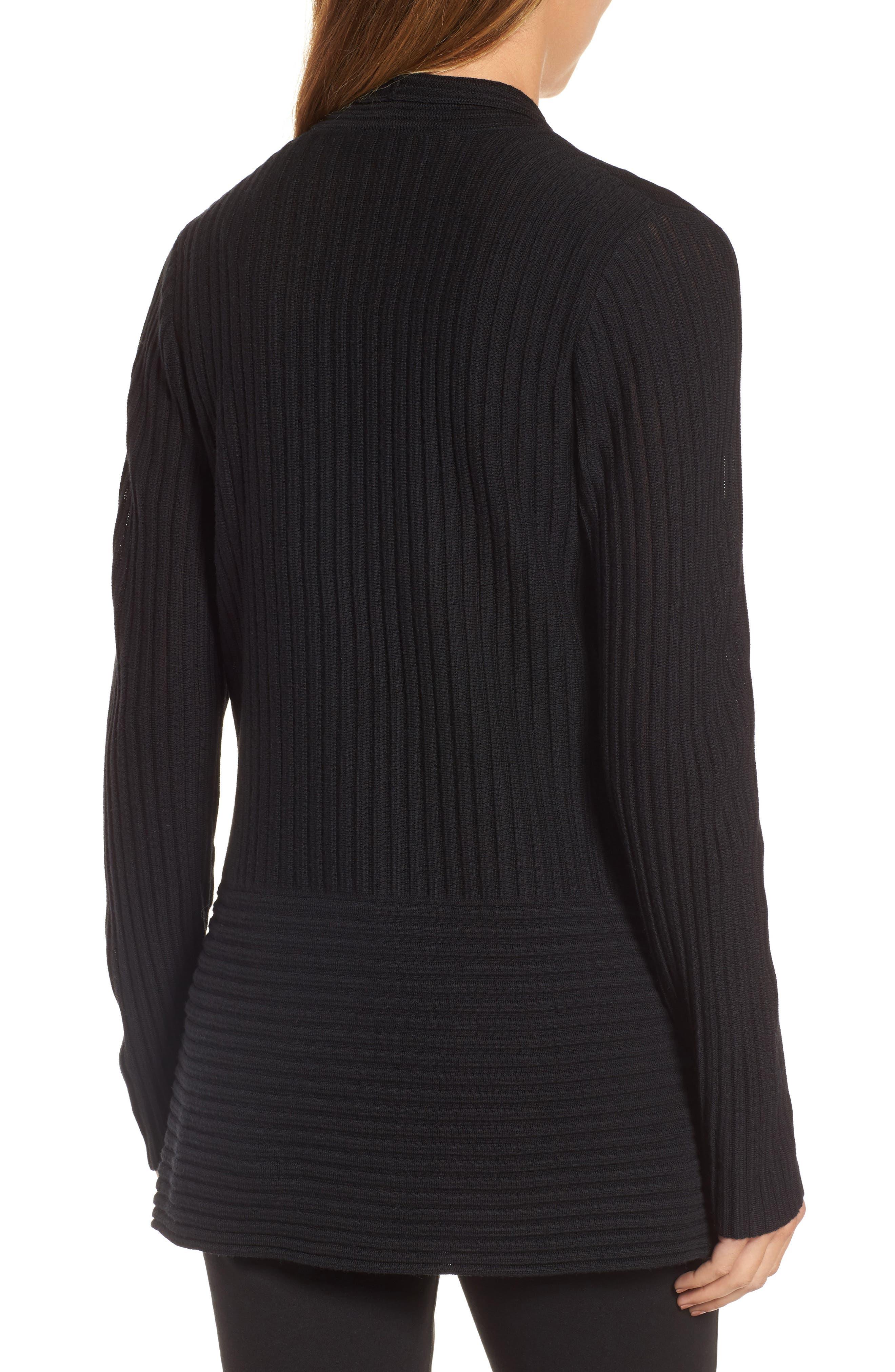 Ribbed Merino Wool Long Cardigan,                             Alternate thumbnail 3, color,                             001