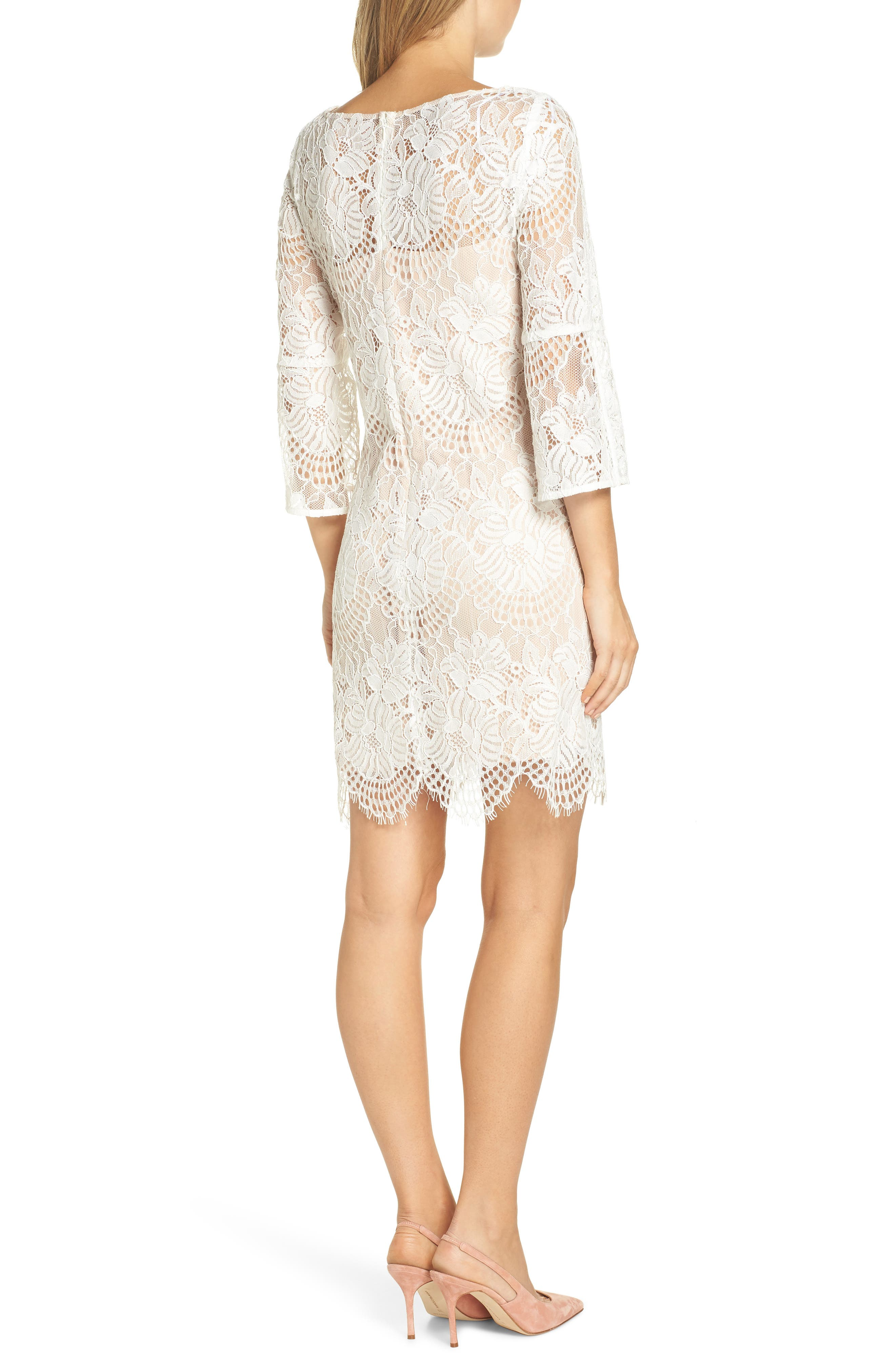 VINCE CAMUTO,                             Lace Shift Dress,                             Alternate thumbnail 2, color,                             IVORY