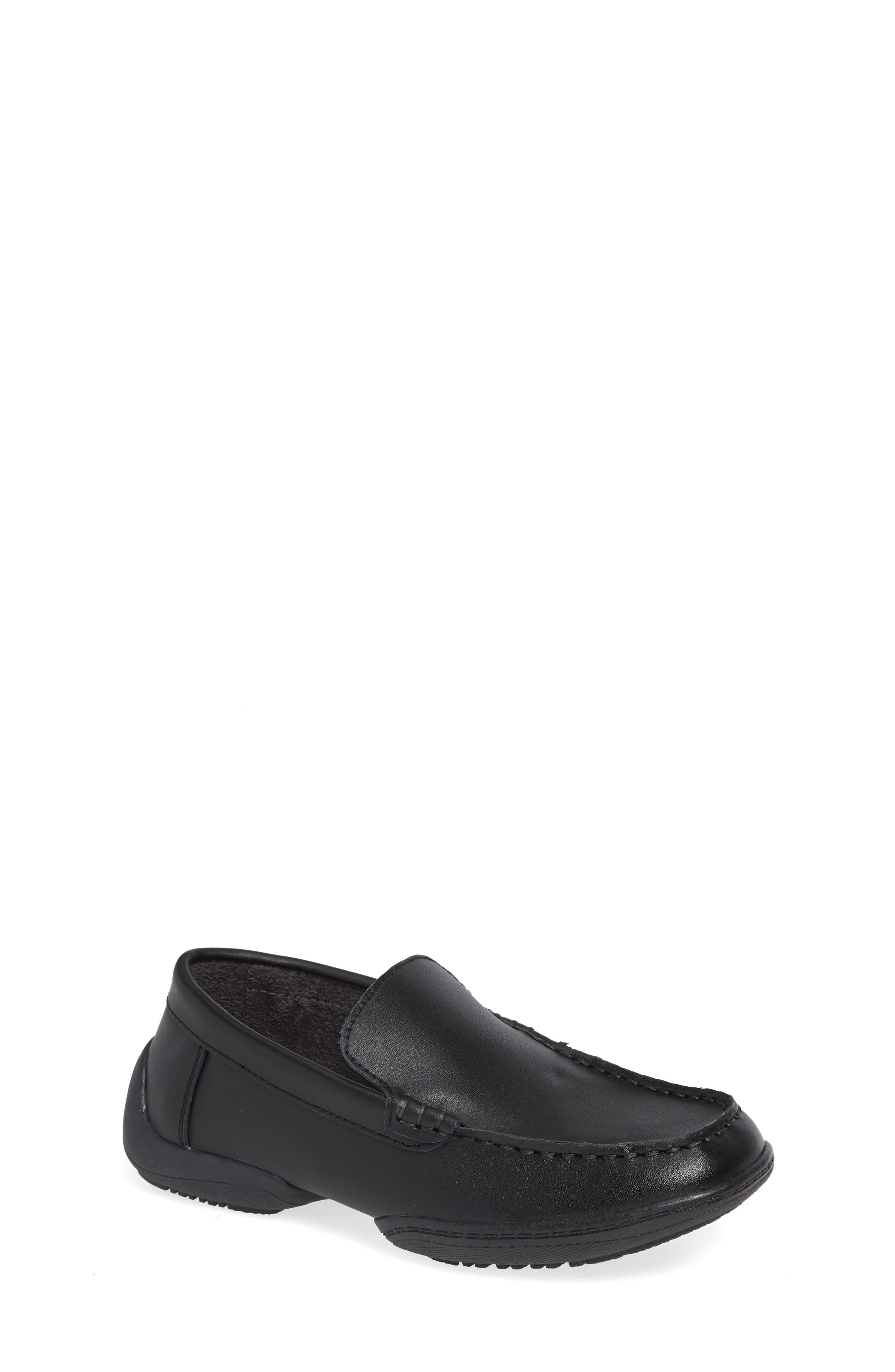 Driving Dime Moccasin,                             Main thumbnail 1, color,                             DARK BLACK LEATHER