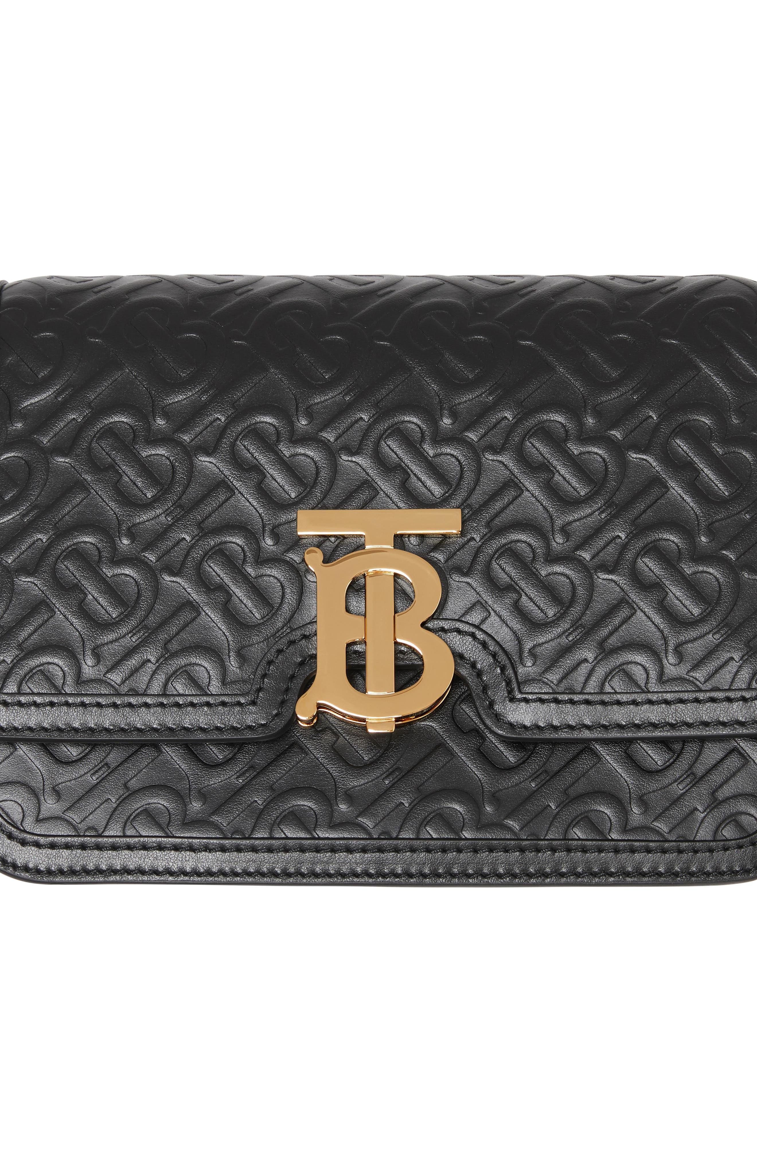 BURBERRY,                             Small Monogram Leather TB Bag,                             Alternate thumbnail 5, color,                             BLACK